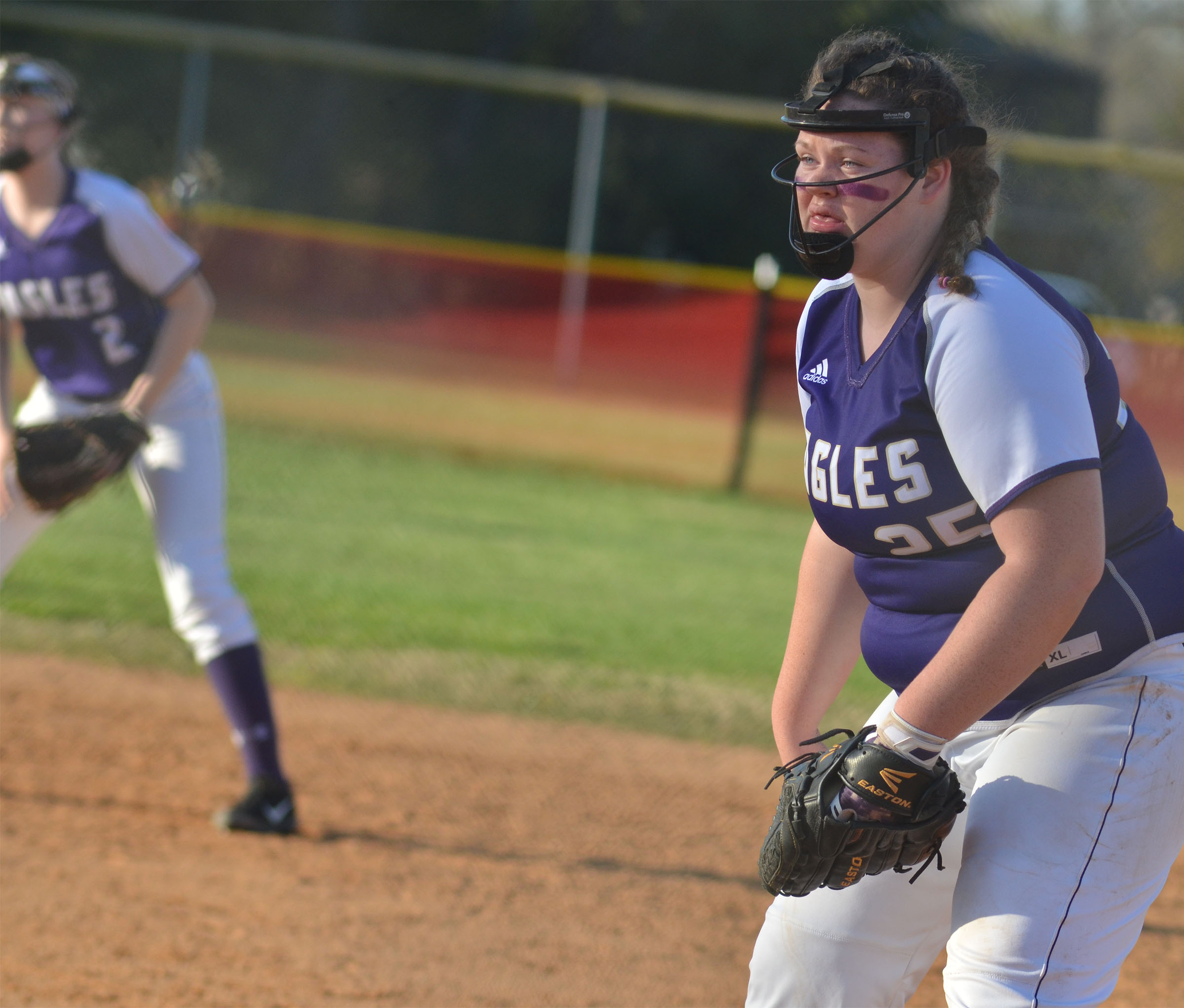 CHS freshman Shallan Philpott gets ready at first.