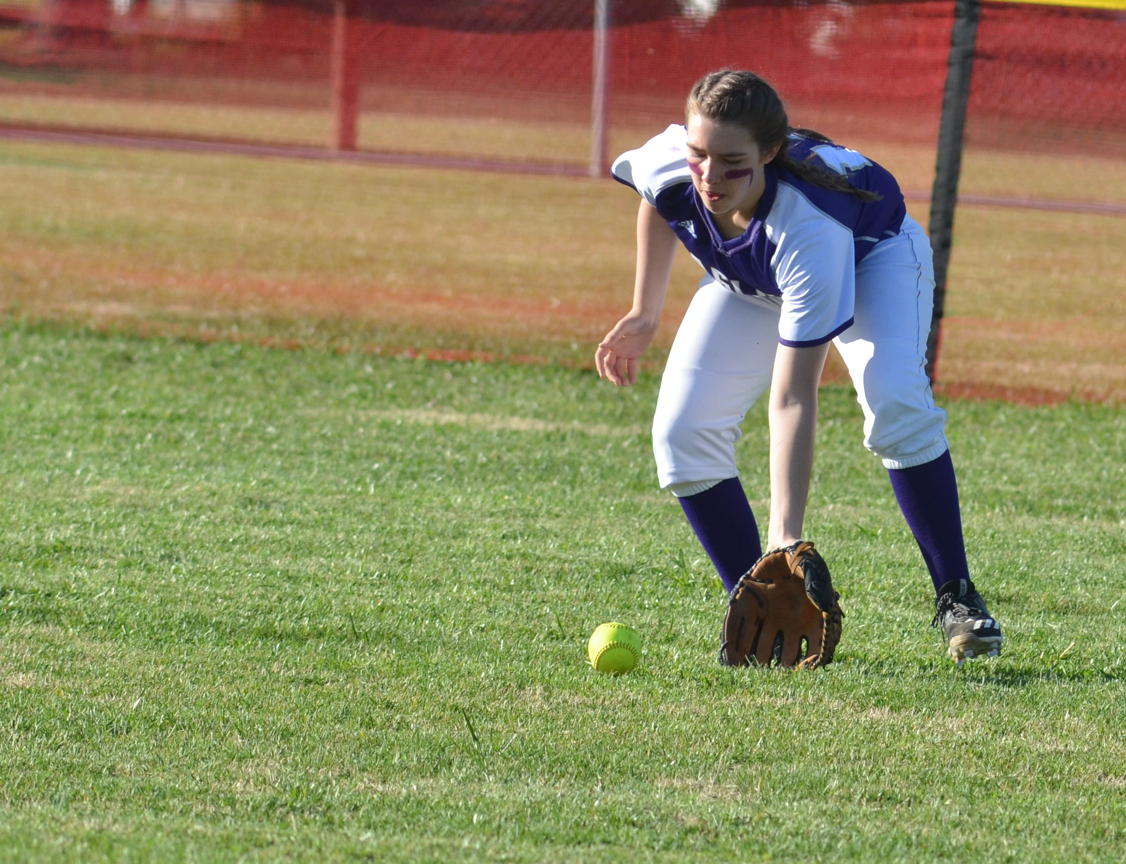 Campbellsville Middle School eighth-grader Abi Wiedewitsch fields the ball.