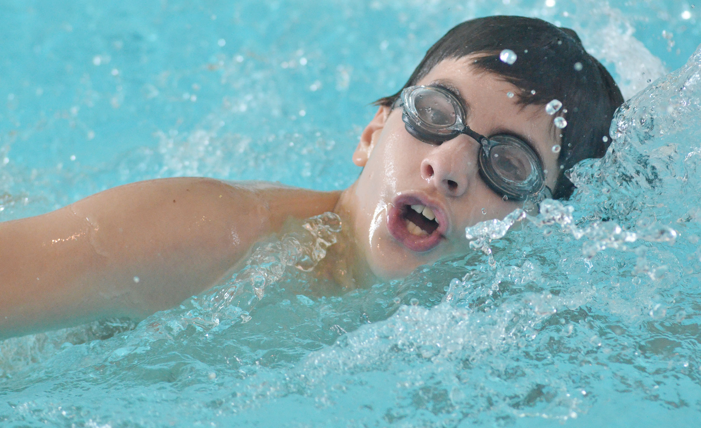 Campbellsville Middle School fifth-grader Dalton Morris swims.