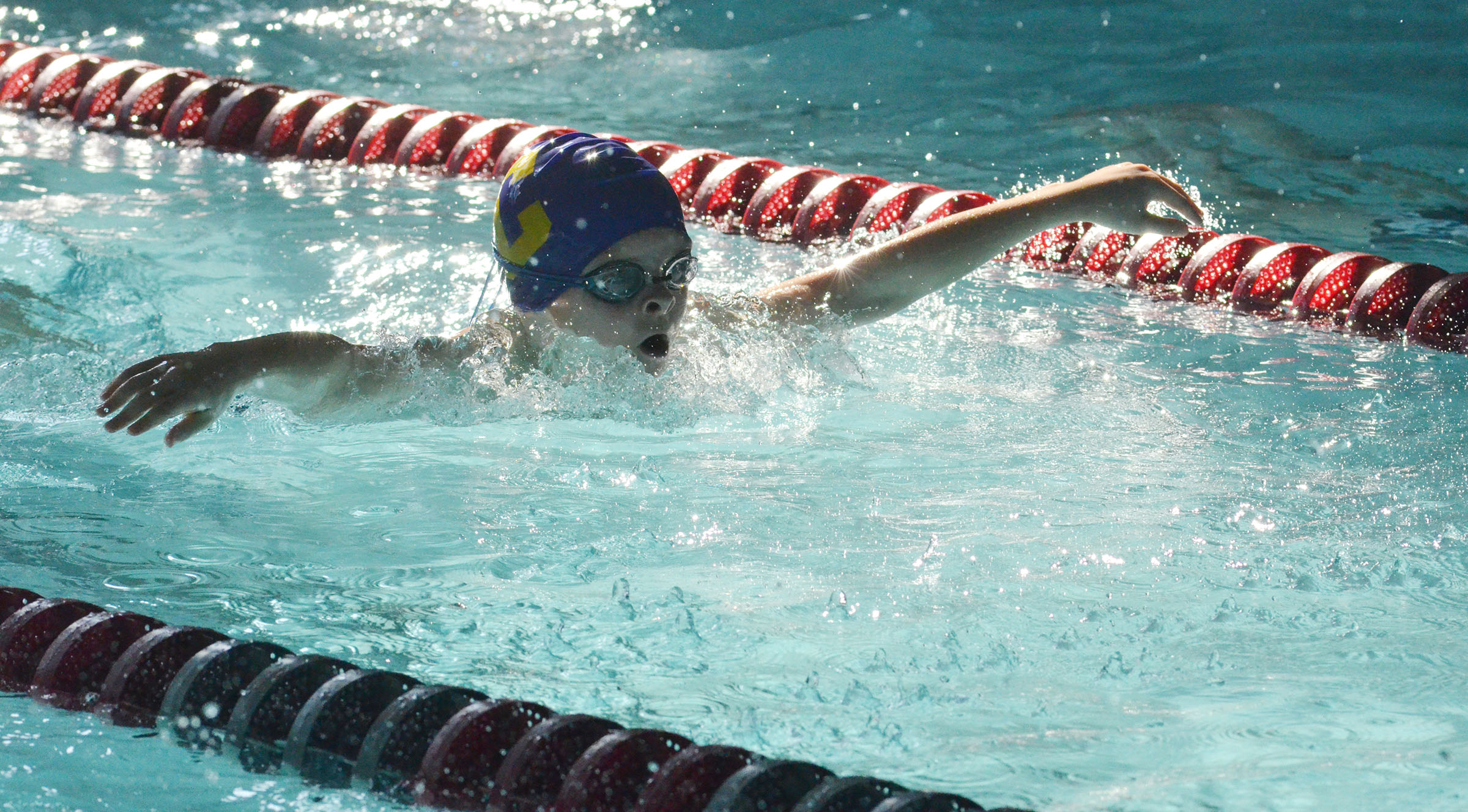 Campbellsville Middle School fifth-grader Caleb Holt swims.