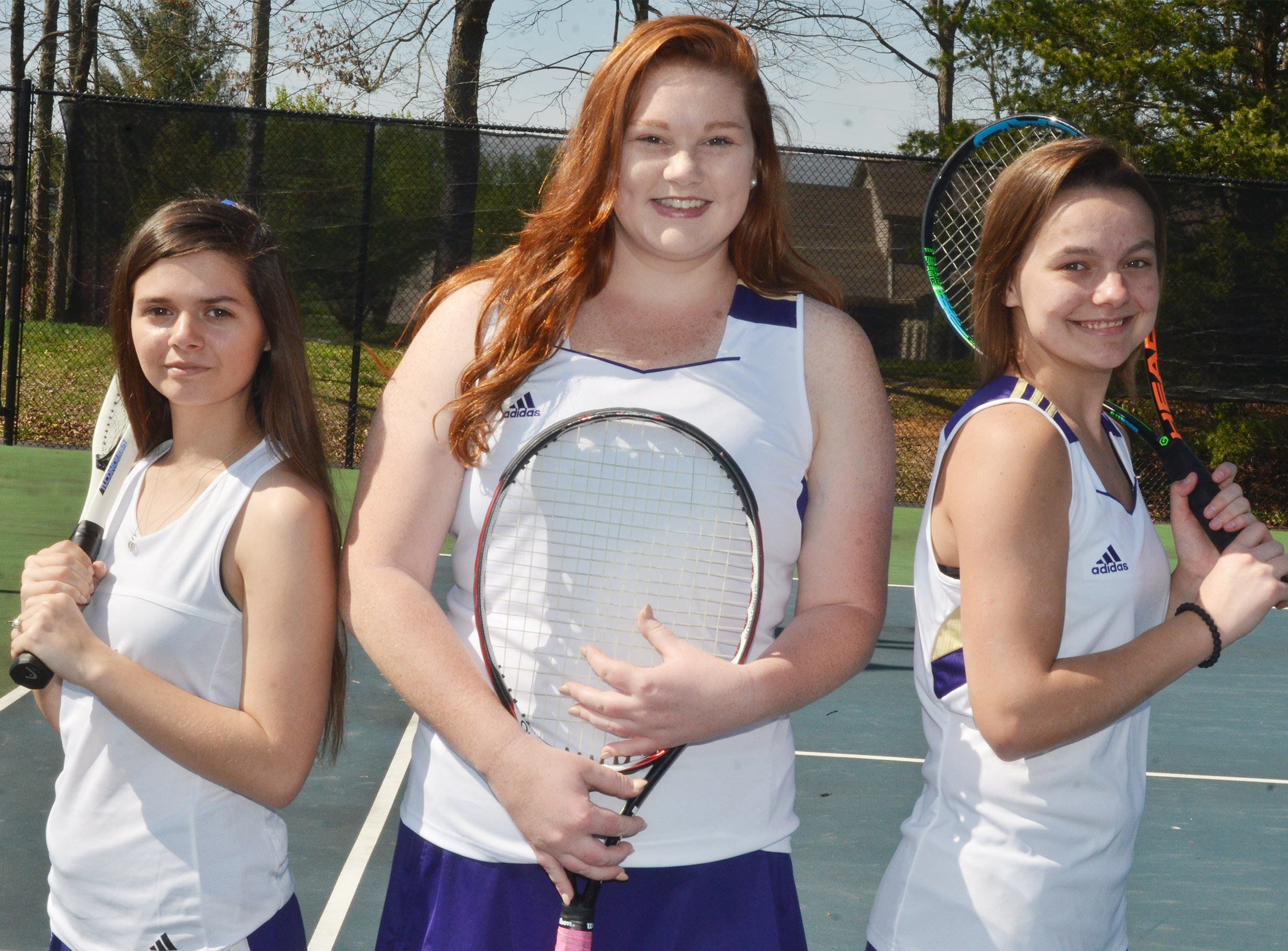 This year's CHS girls' tennis team features three seniors, from left, Shauna Jones, Mallory Haley and Kyrsten Hill.