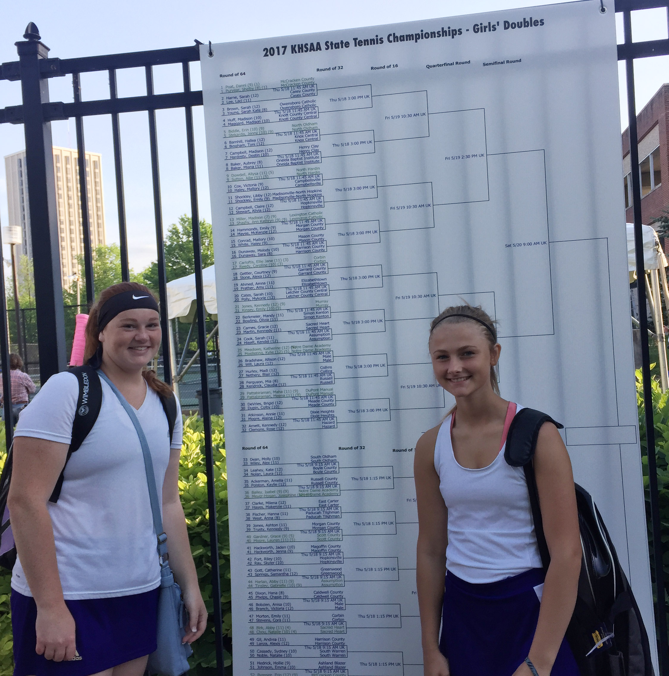 CHS tennis duo Mallory Haley, a senior, at left, and freshman Victoria Cox pose by the KHSAA state tennis tournament doubles bracket.