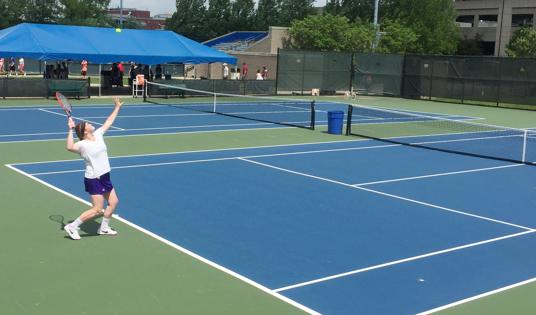 CHS senior Mallory Haley serves.