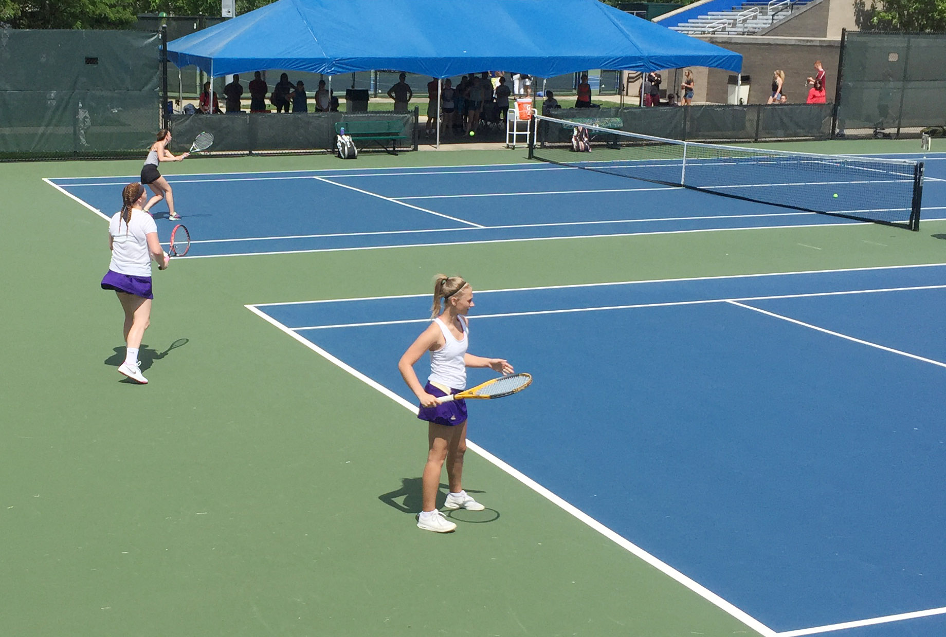 CHS senior Mallory Haley, at left, and freshman Victoria Cox get set to play in the KHSAA state tennis tournament.