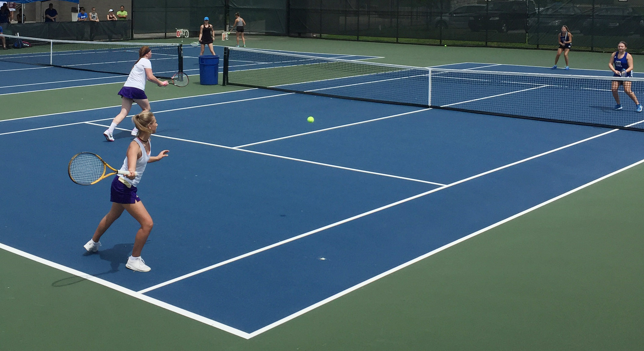 CHS senior Mallory Haley, at left, and freshman Victoria Cox play in the KHSAA state tennis tournament.