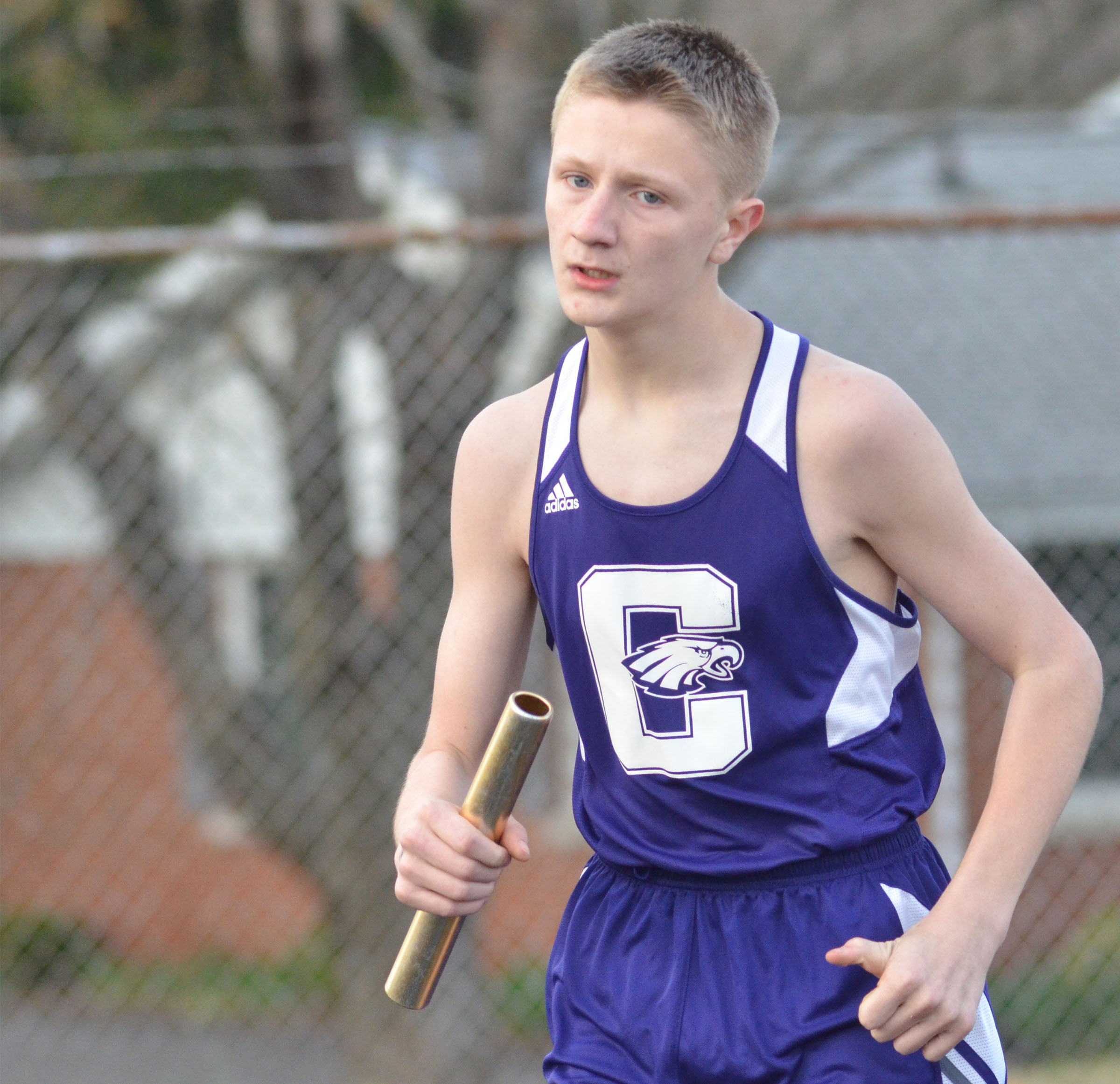 CMS eighth-grader Jake Dicken runs.
