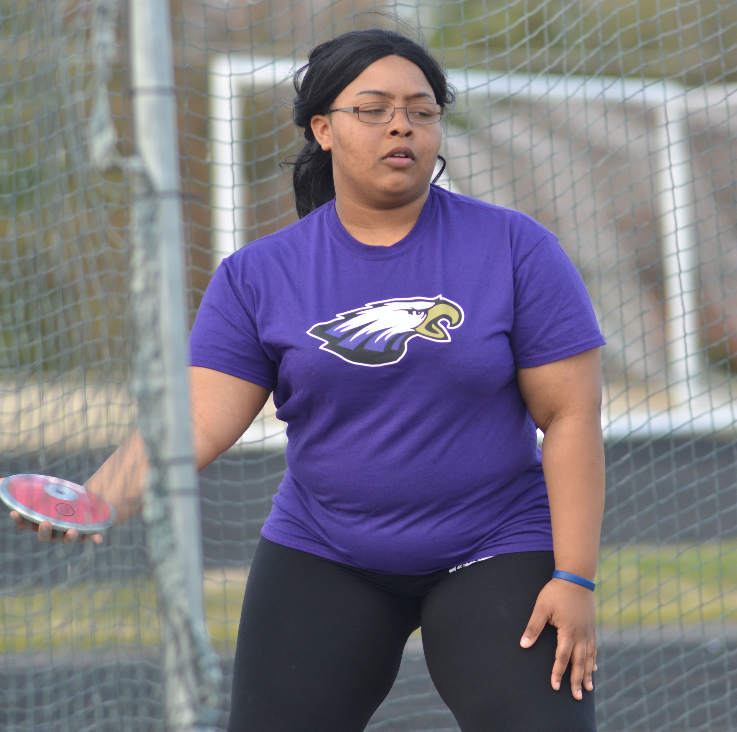 CHS sophomore Natalie Caldwell throws shot put.