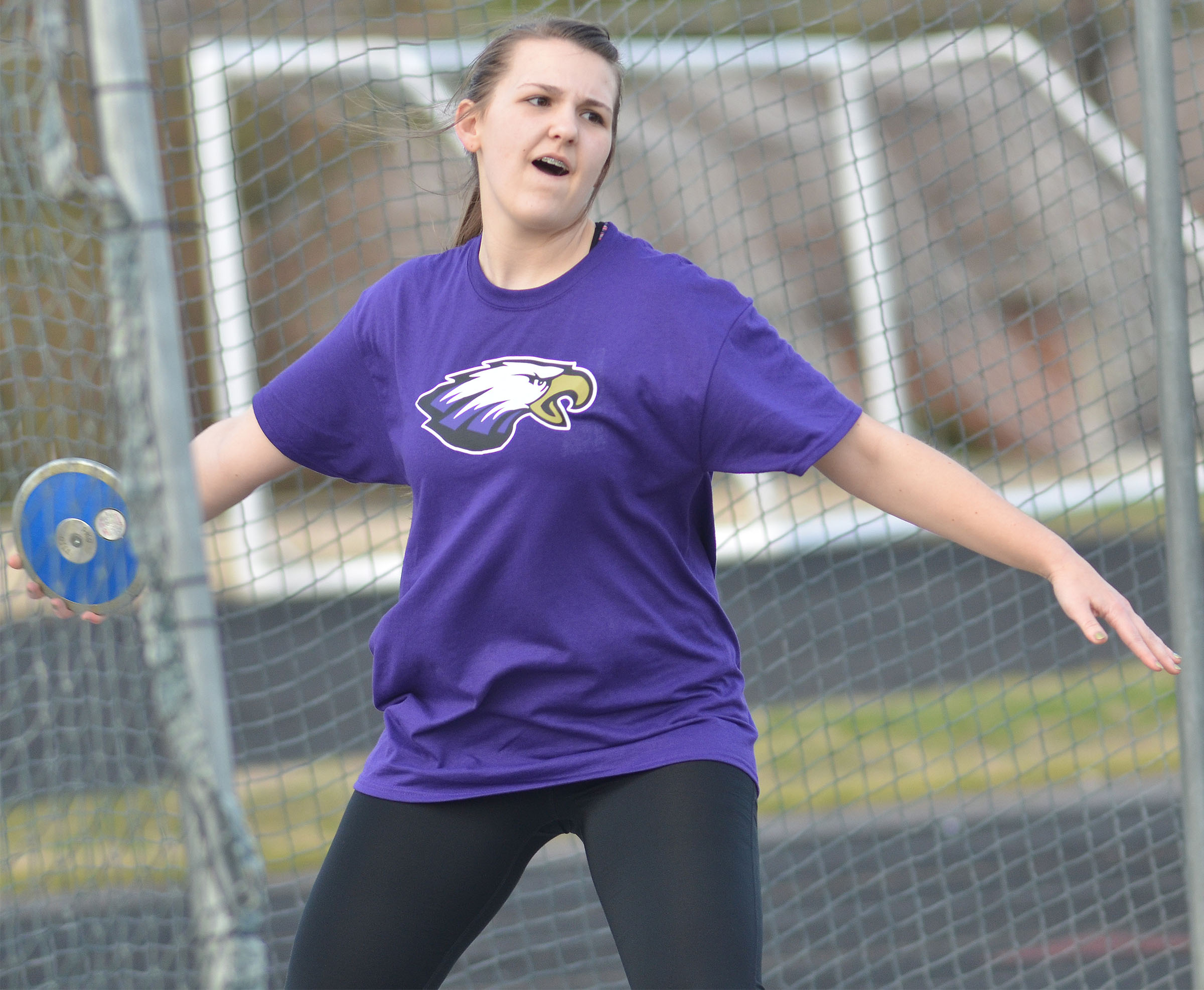 CHS freshman Haley Morris throws shot put.
