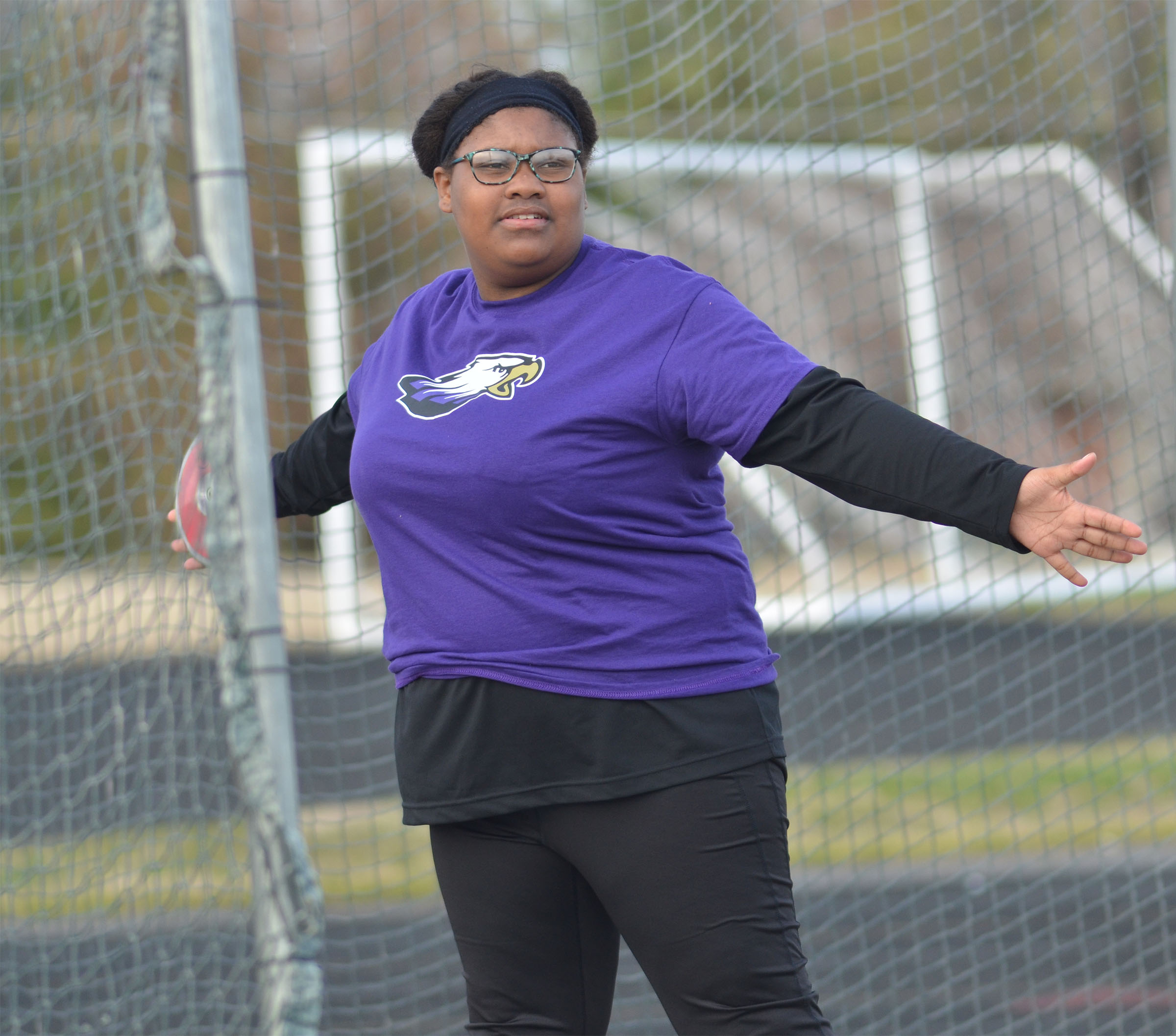 CHS freshman Jakyia Mitchell throws shot put.