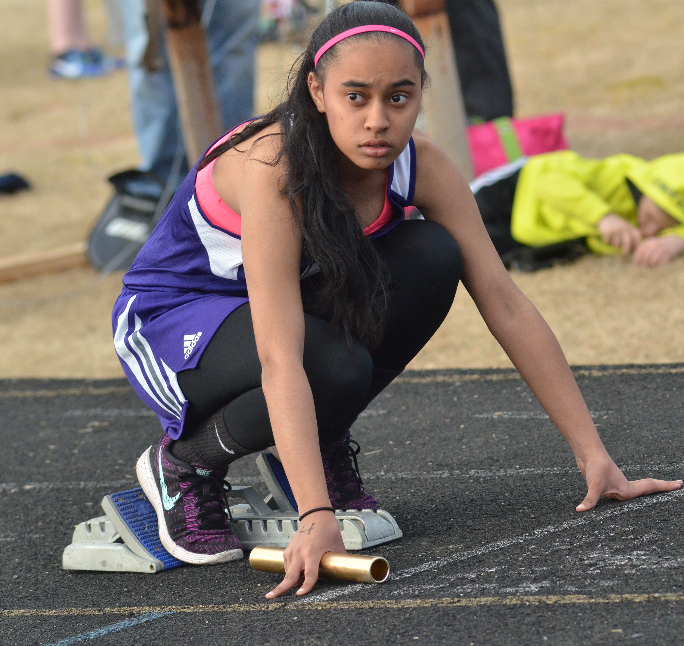 CHS freshman Jasmine Coro gets ready to run.
