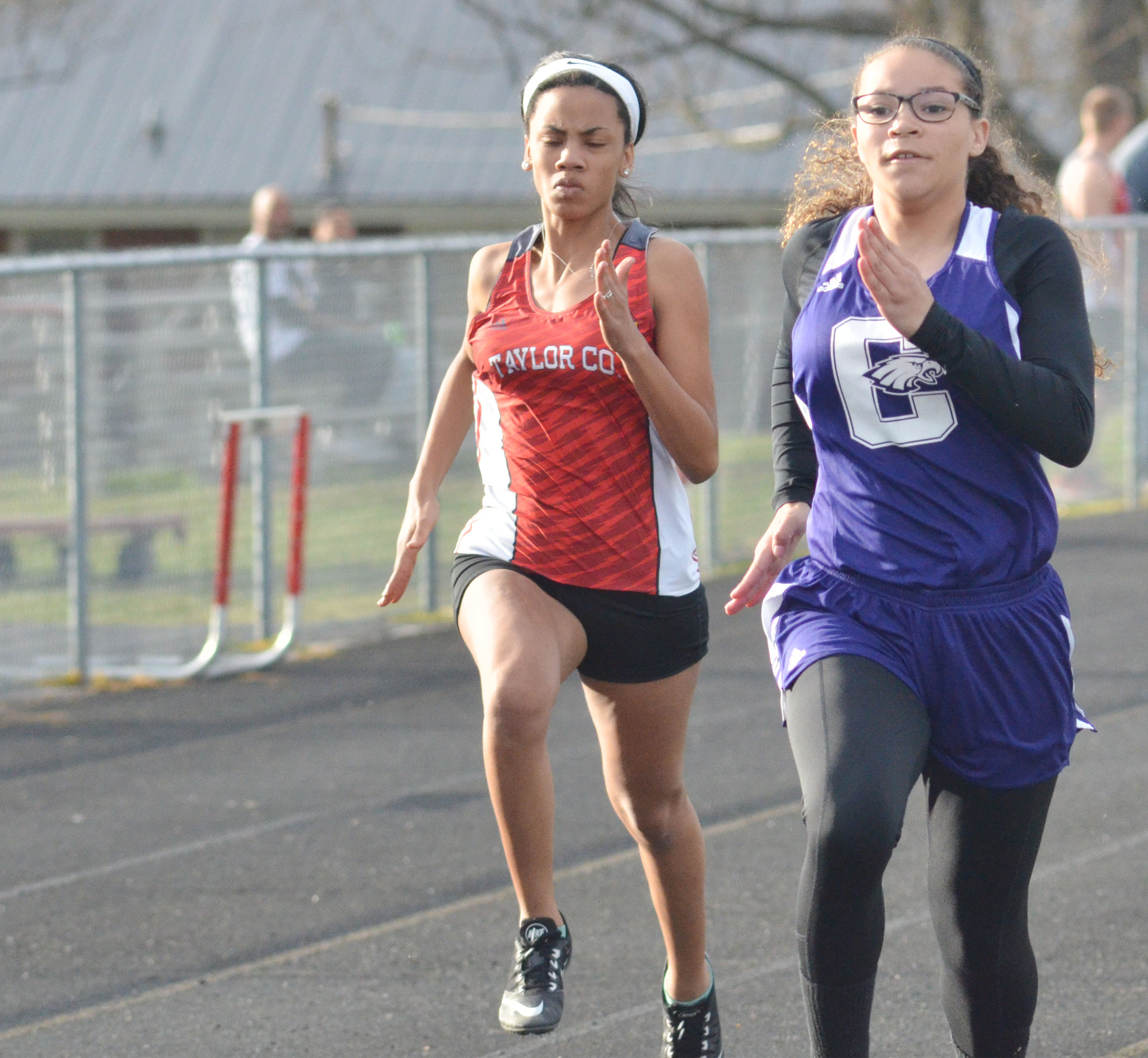 CHS freshman Taliyah Hazelwood, at right, runs.