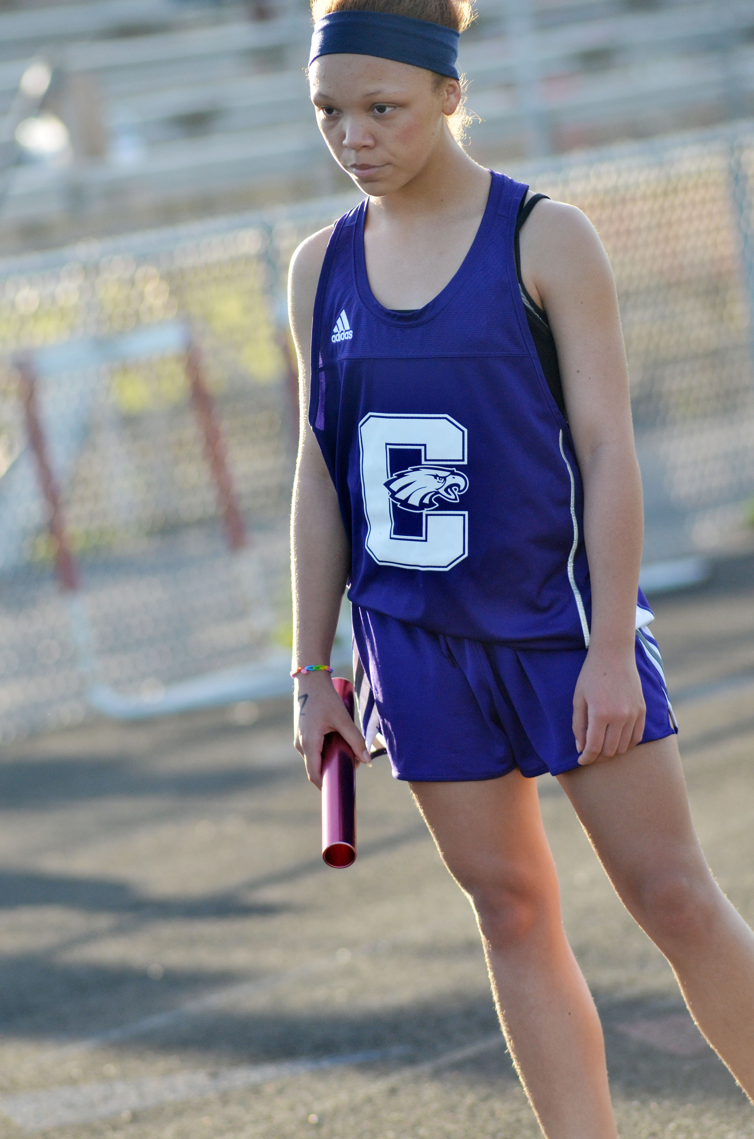 Campbellsville Middle School seventh-grader Kitana Taylor gets ready to run.