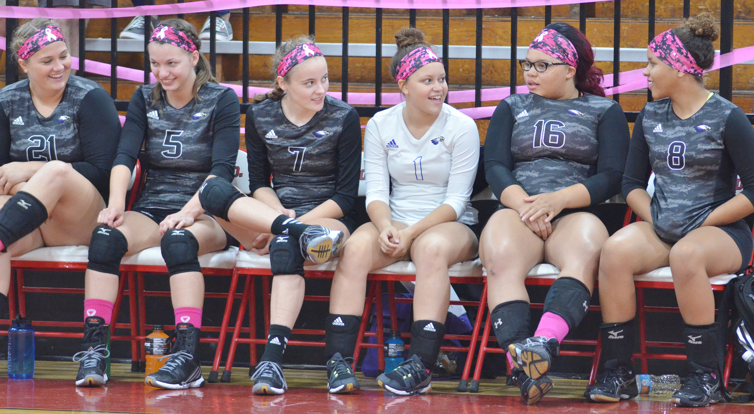 CHS senior volleyball players talk before the game begins. From left are Brenna Wethington, Caylie Blair, Caroline McMahan, Breanna Spaulding, Deovion Owens and Diamond Thompson.