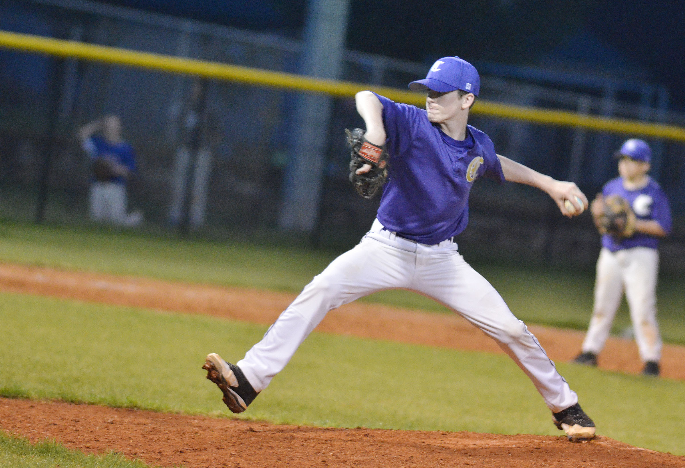 CMS seventh-grader Seth Hash pitches a four-inning shutout.