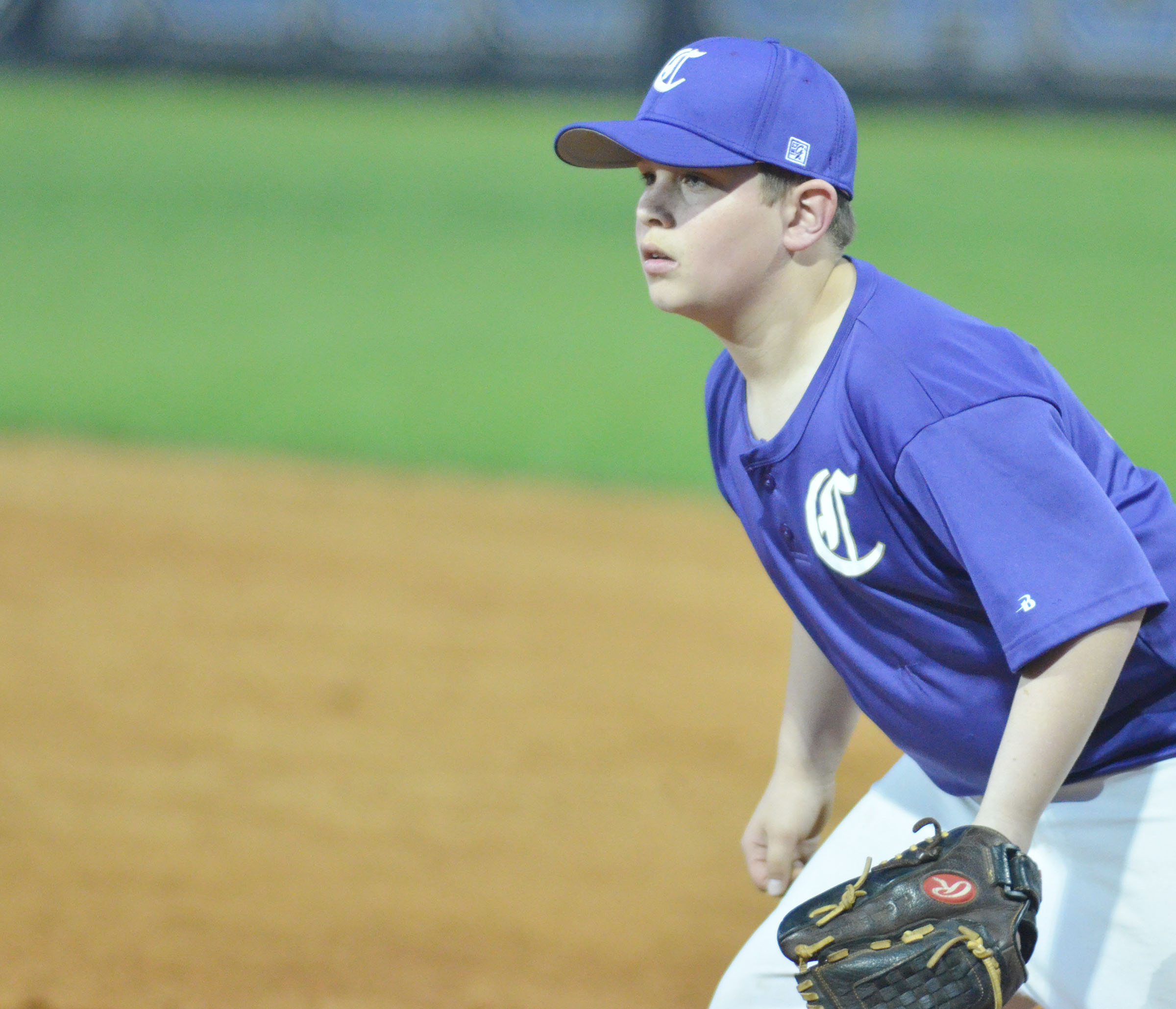 CMS sixth-grader Weston Mattingly mans first base.