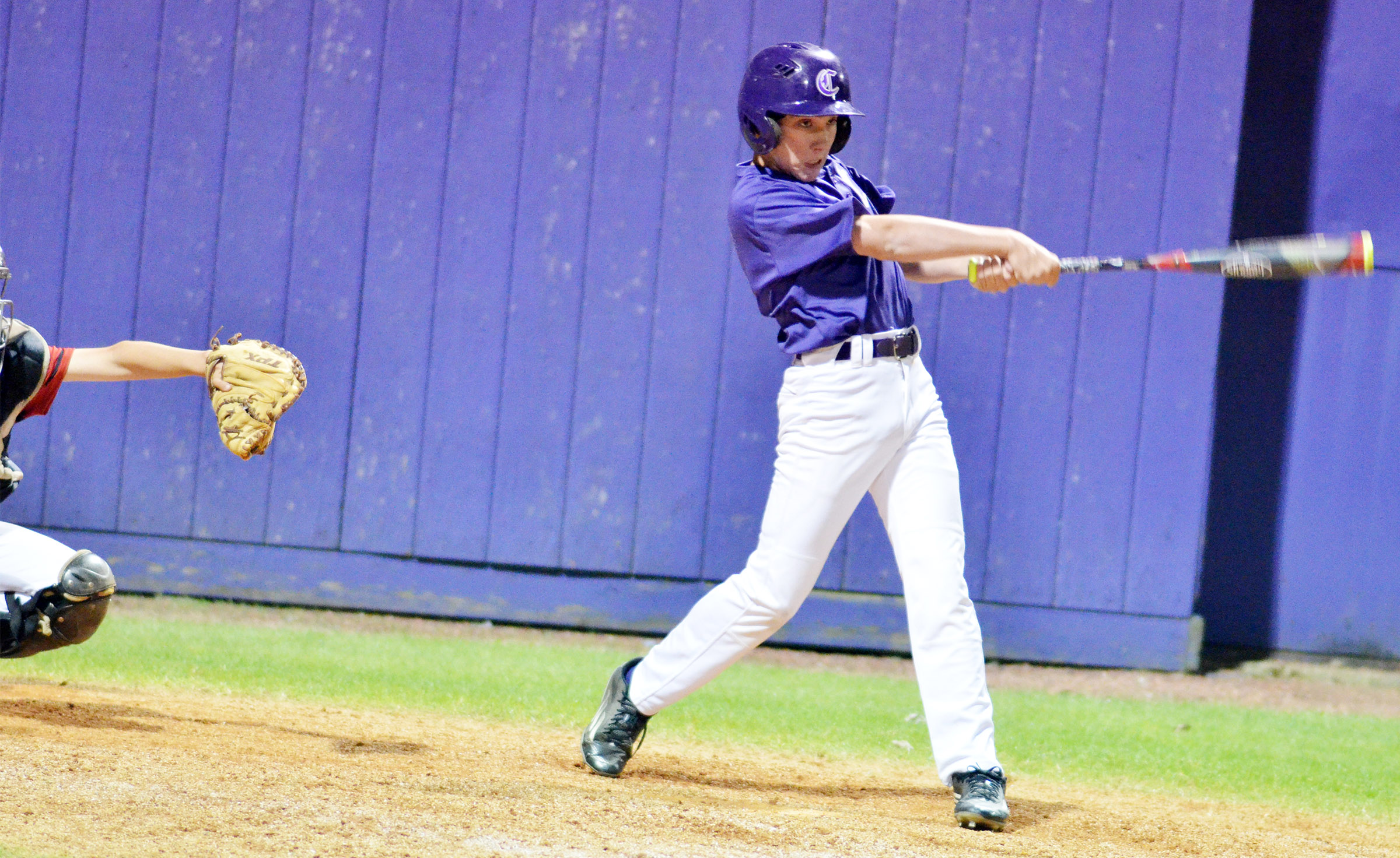 CMS seventh-grader Peyton Dabney gets a hit to win the game for his team.