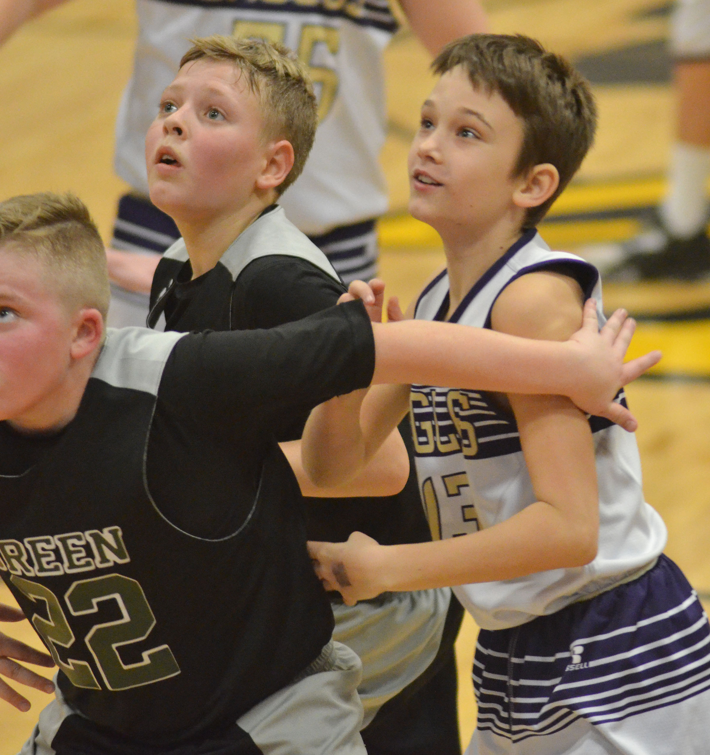 CMS sixth-grader Camren Vicari looks for a rebound.
