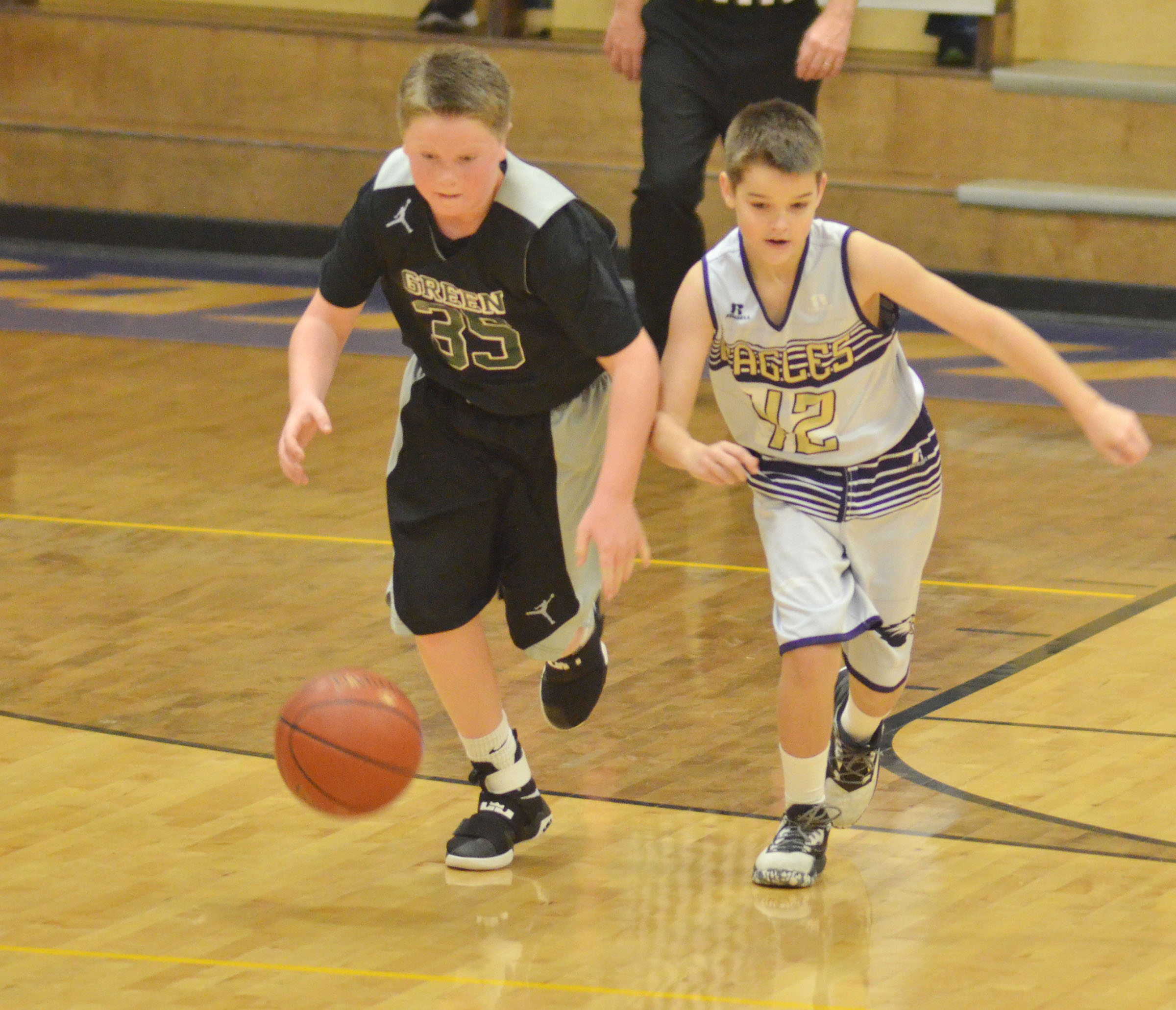 CMS sixth-grader Kaden Bloyd runs for the ball.
