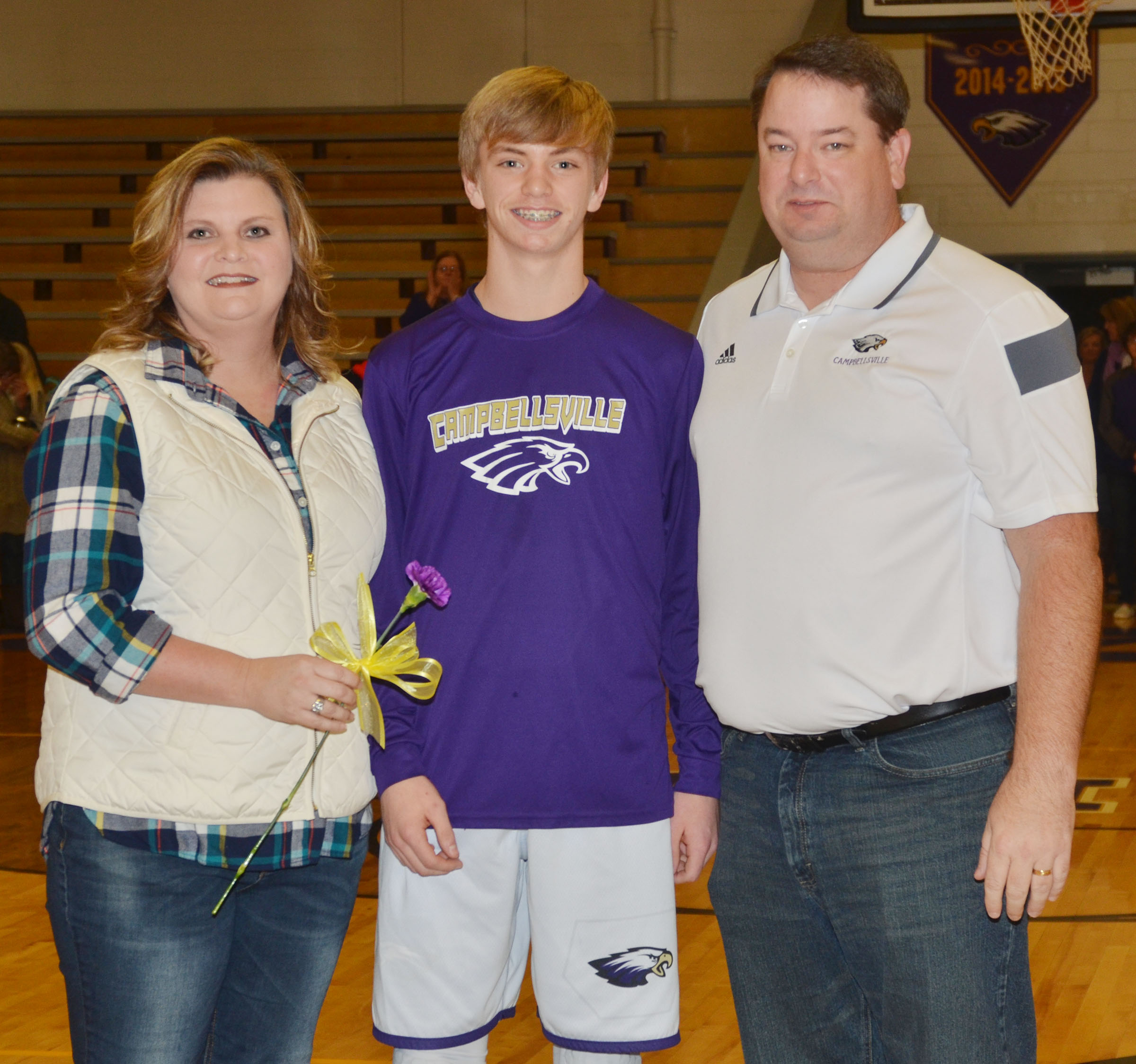 CMS eighth-grader Arren Hash is honored. He is pictured with his parents, Tammy and Garin.