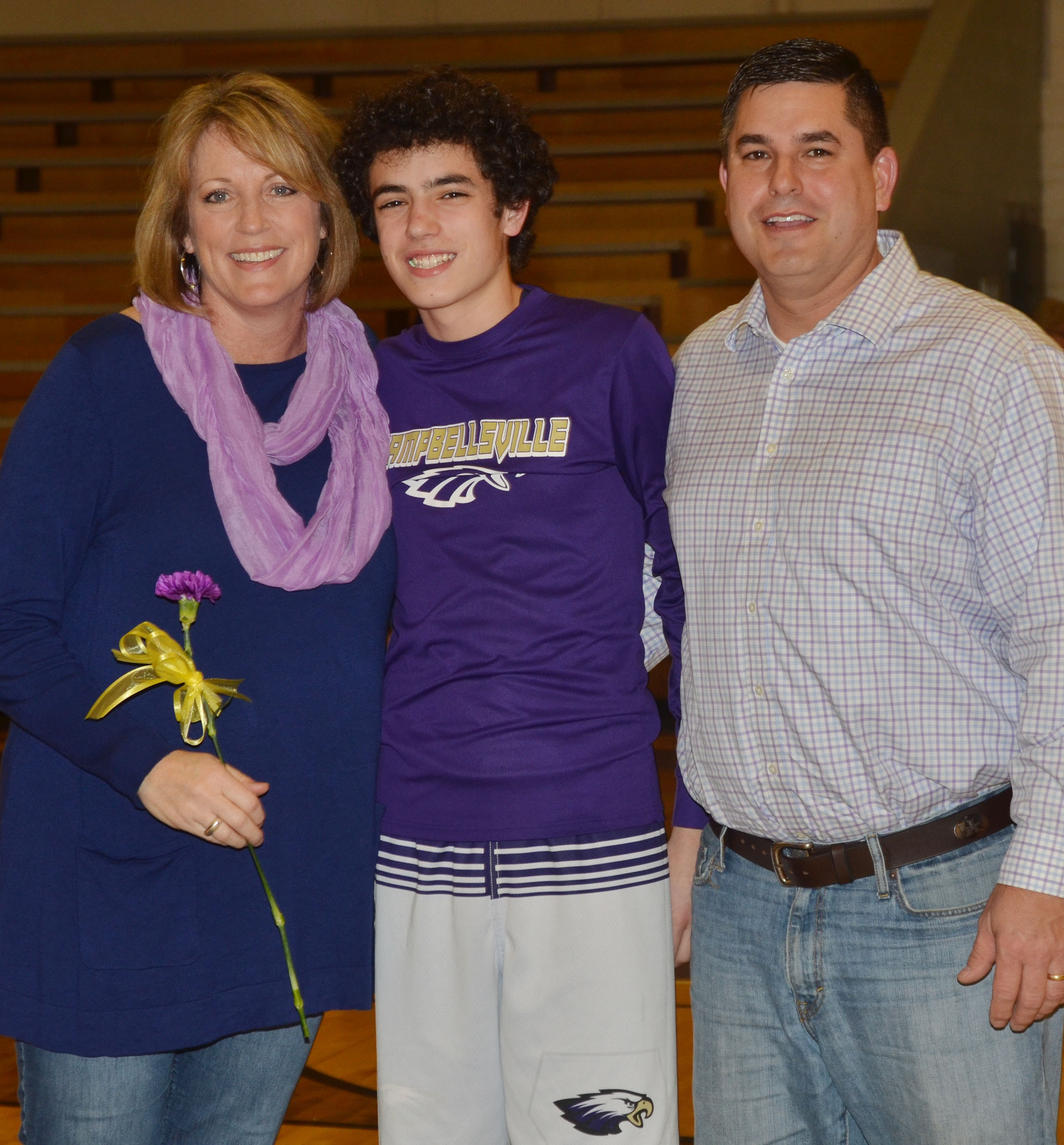 CMS eighth-grader Kameron Smith is honored. He is pictured with his parents, Andrea and Kirby.