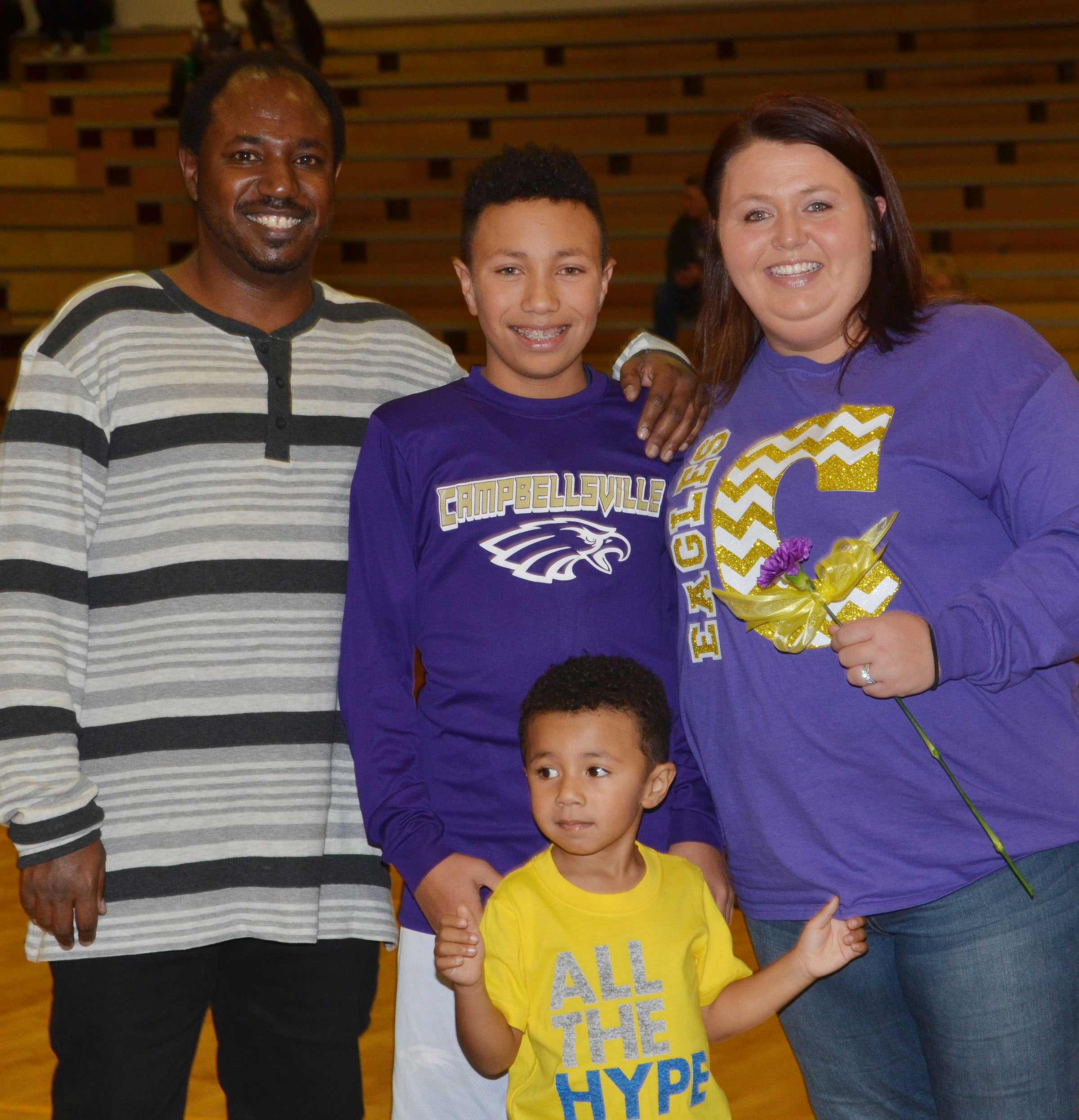 CMS eighth-grader Jastyn Shively is honored. He is pictured with his parents, LaRee and Jansen, and his brother, Jayvian.