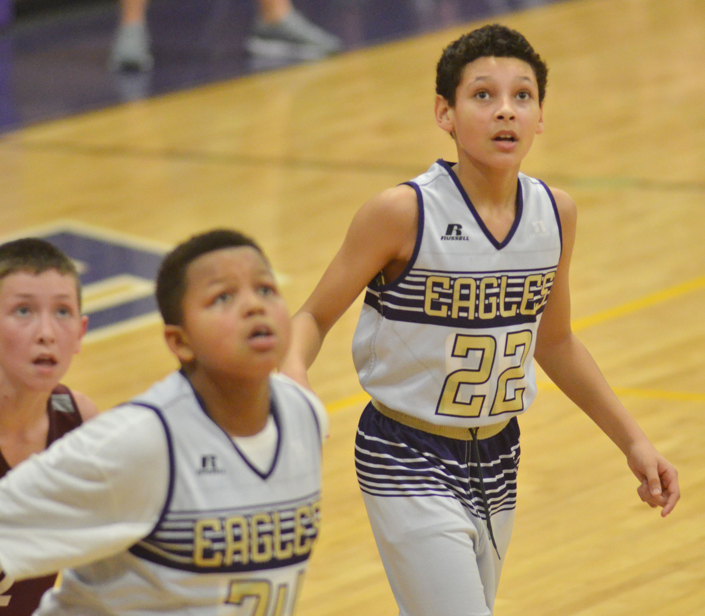 CMS sixth-grader Brice Spaw looks for the rebound.