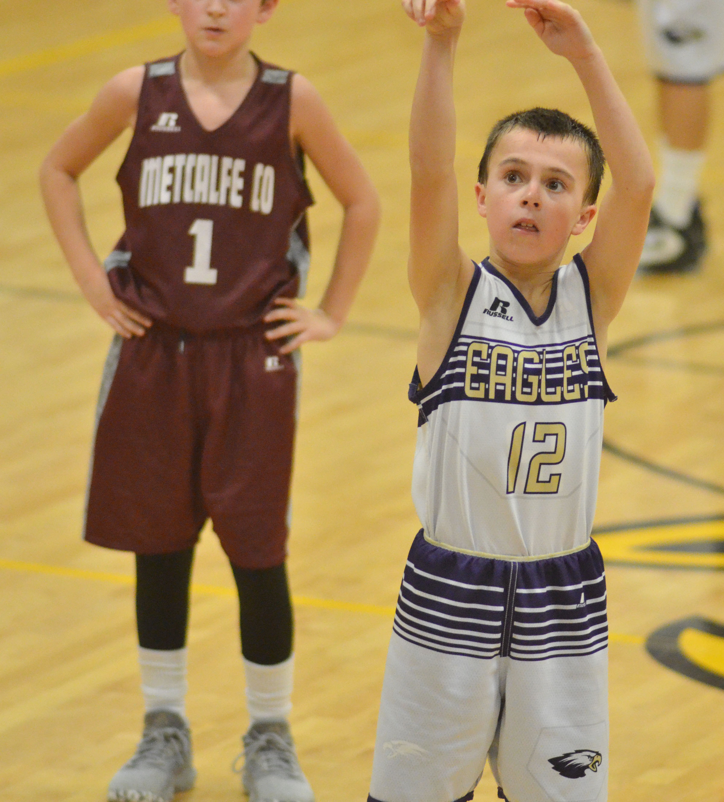 CMS sixth-grader Chase Hord shoots the ball.