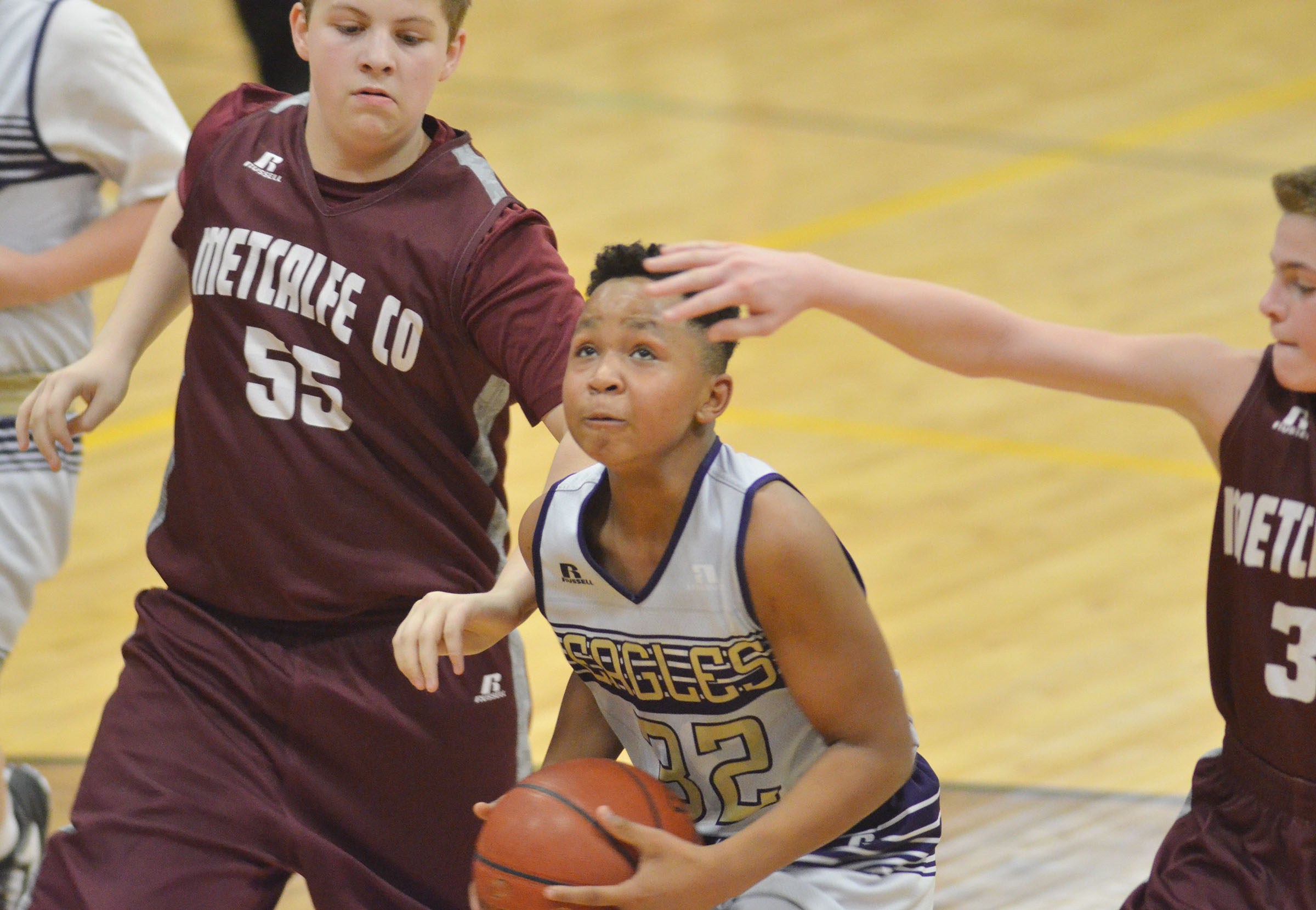 CMS sixth-grader Deondre Weathers shoots the ball.