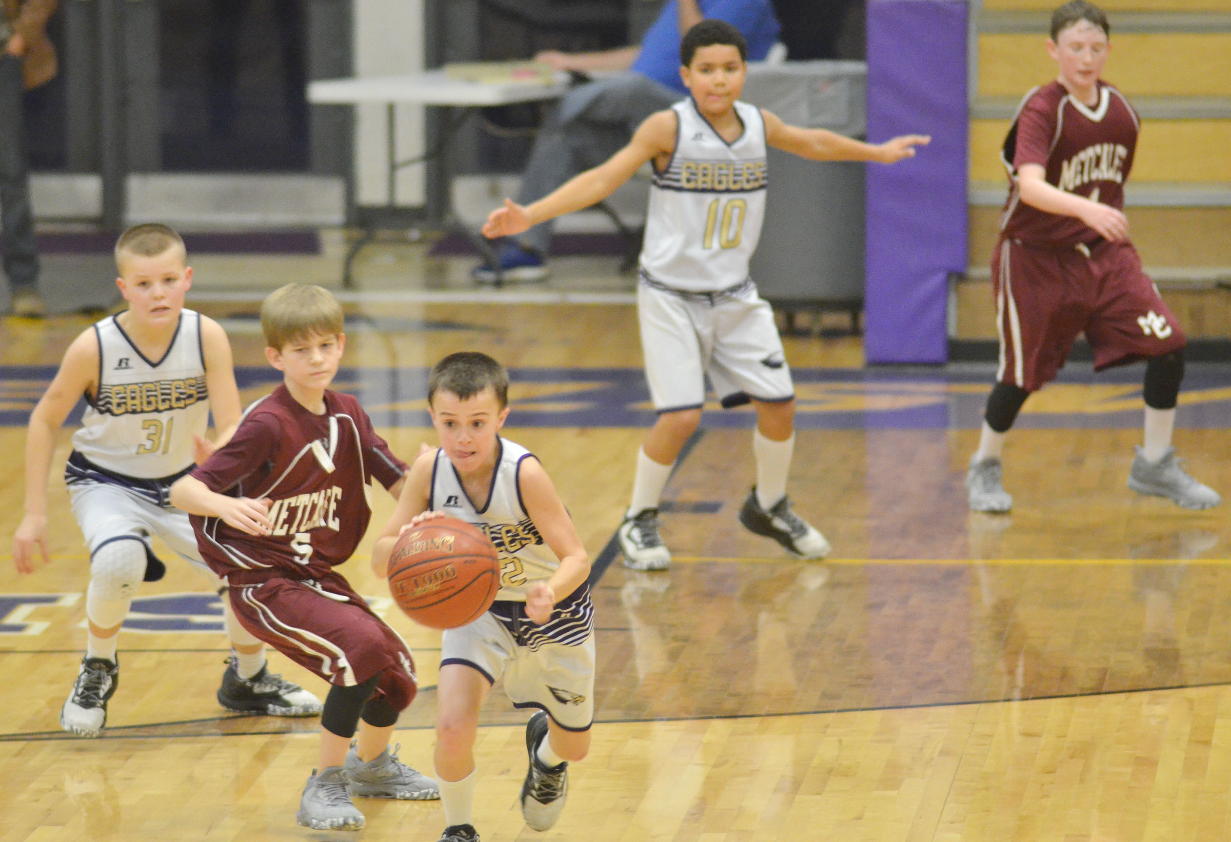 CMS sixth-grader Chase Hord steals the ball.