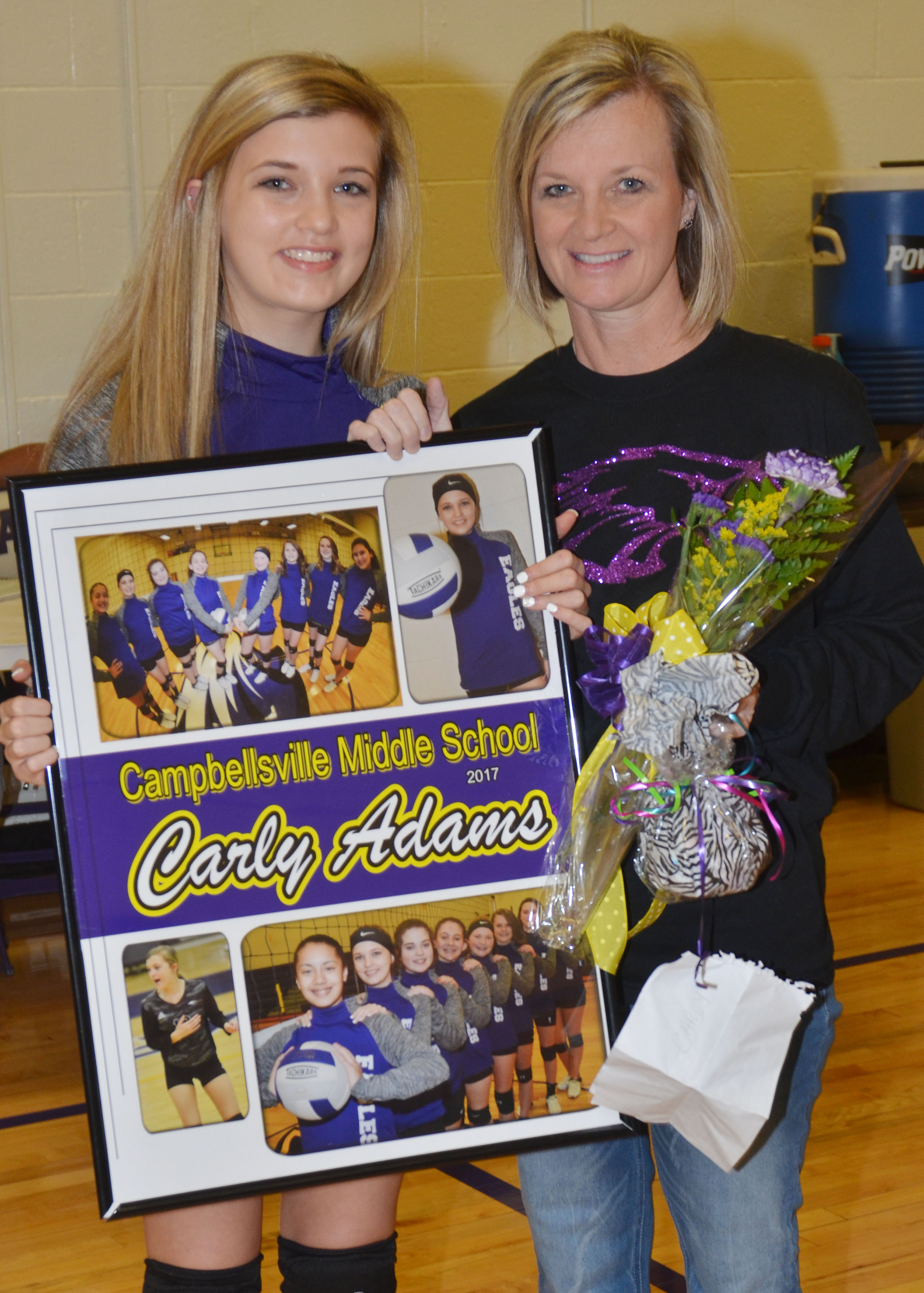 CMS eighth-grader Carly Adams is honored.