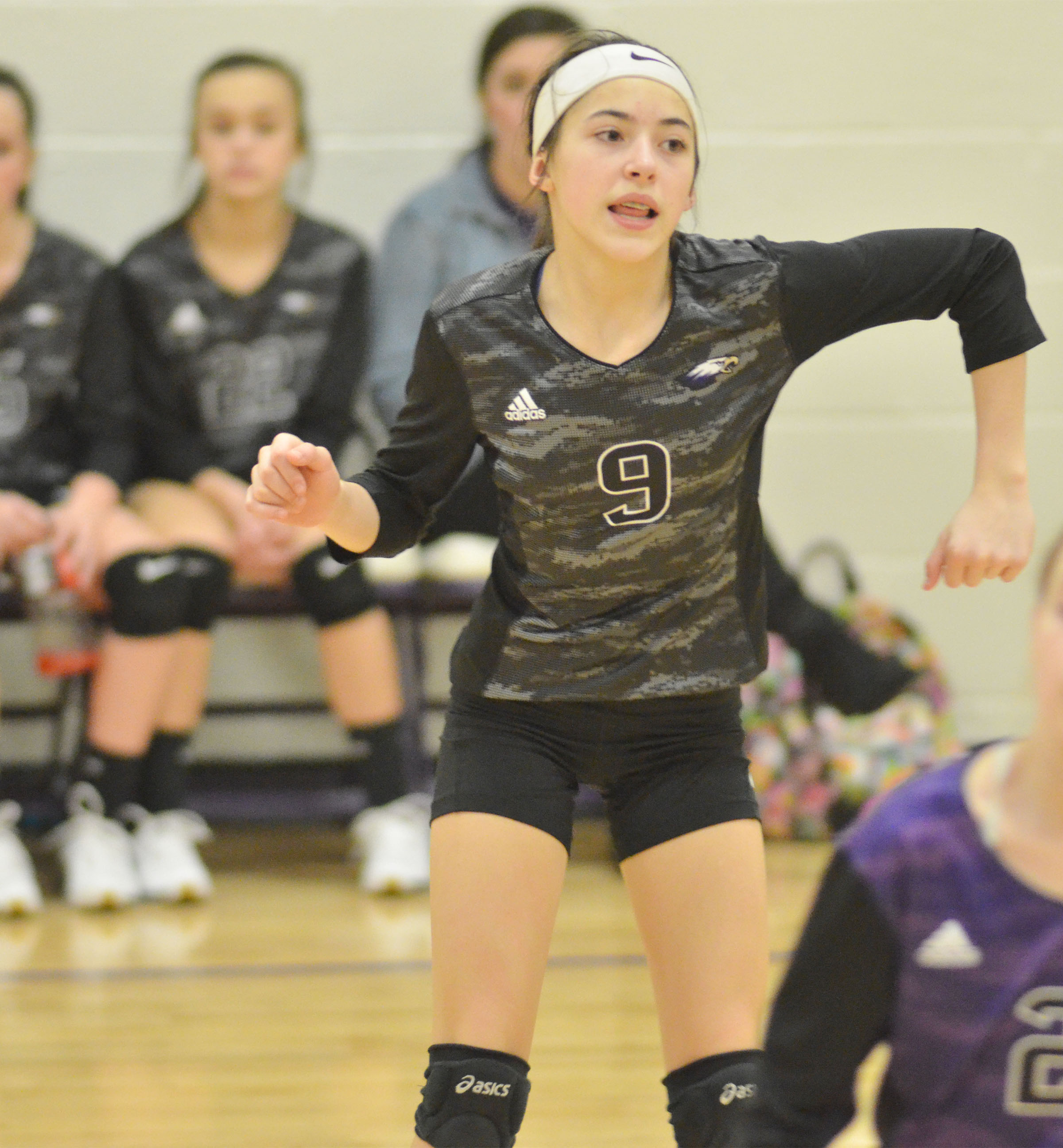 CMS seventh-grader Kaylyn Smith cheers after a point.