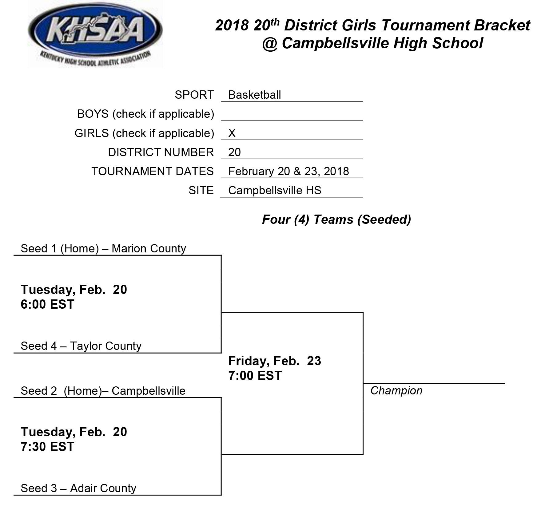 Girls Tournament Bracket