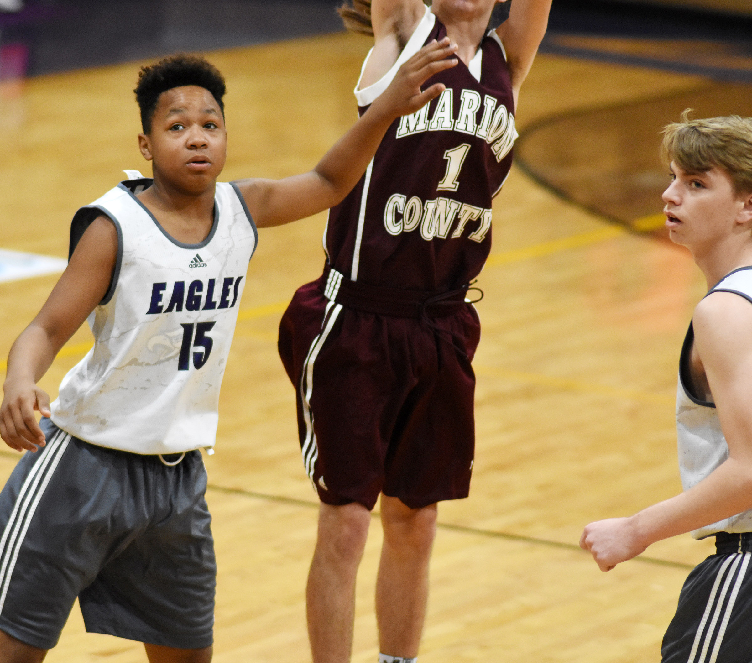 Campbellsville Middle School seventh-grader Deondre Weathers blocks a shot.
