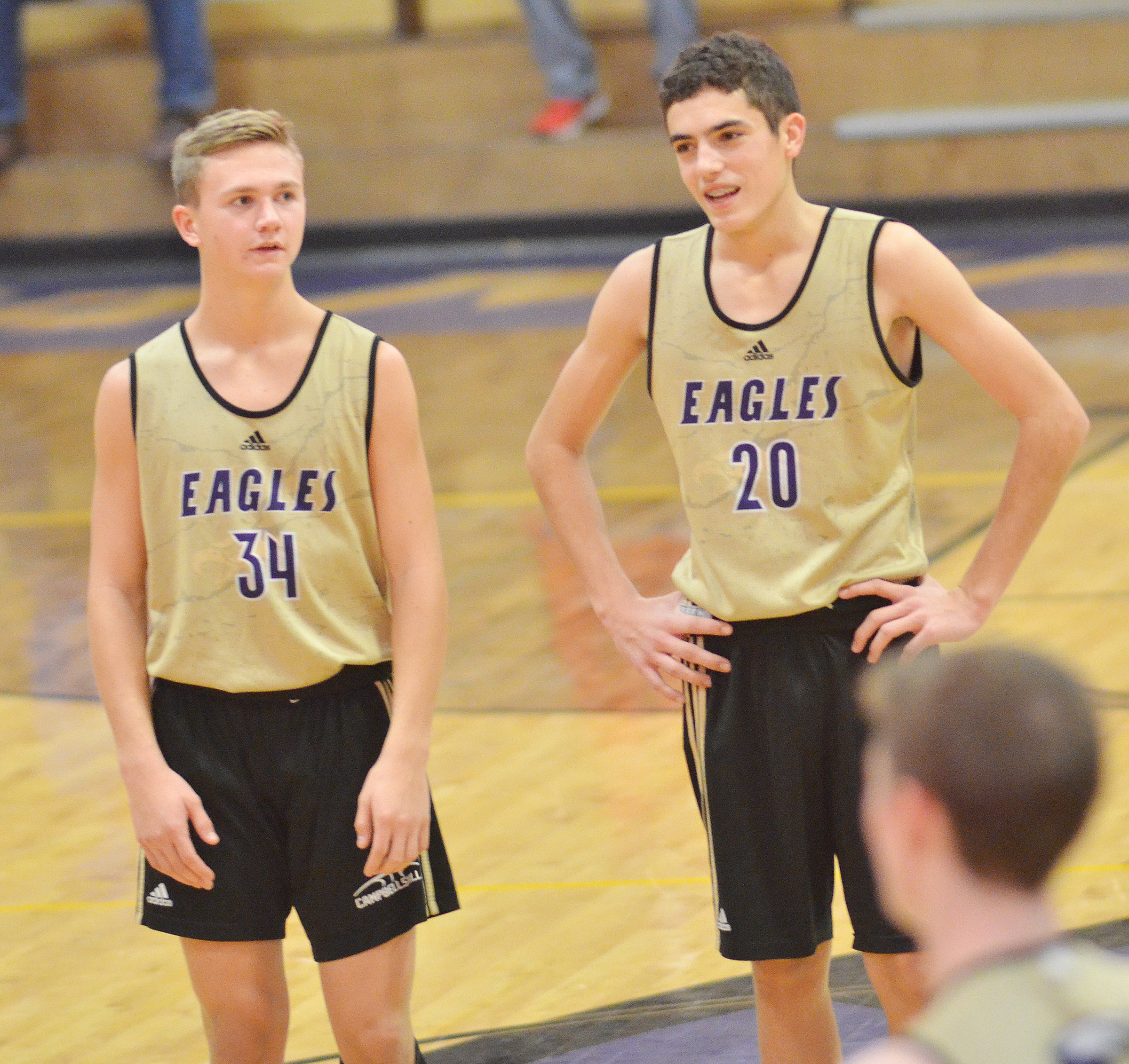 CHS freshmen Blase Wheatley, at left, and Kameron Smith talk.