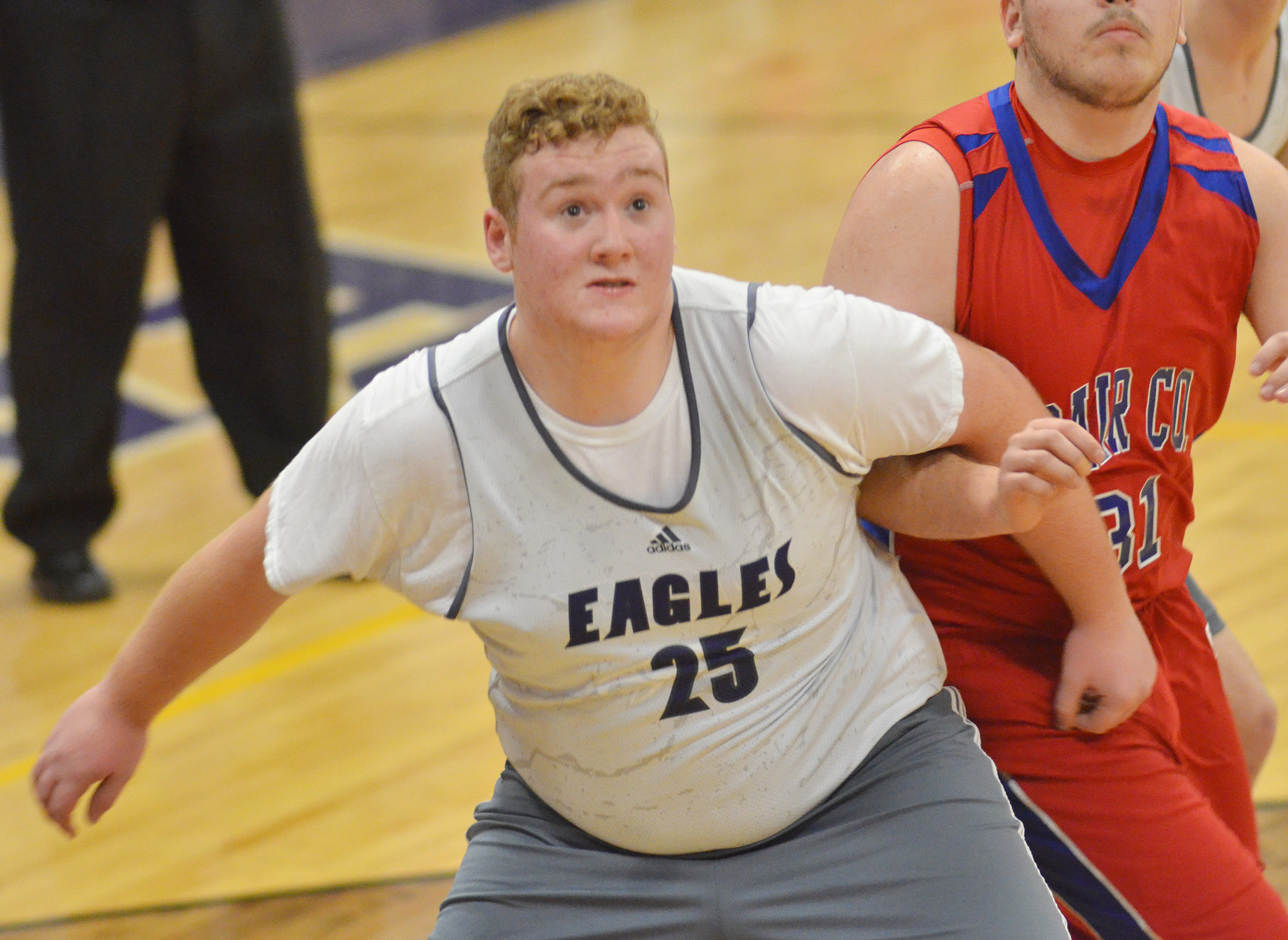CHS junior Spencer Swafford looks for a rebound.