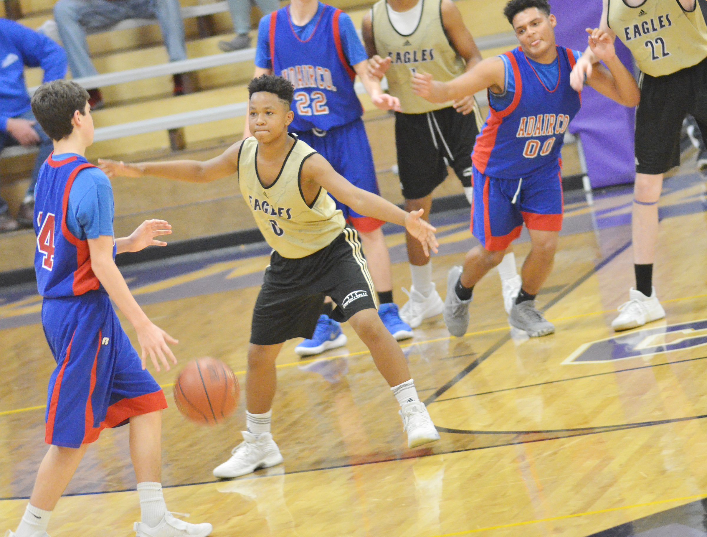 Campbellsville Middle School seventh-grader Deondre Weathers plays defense.
