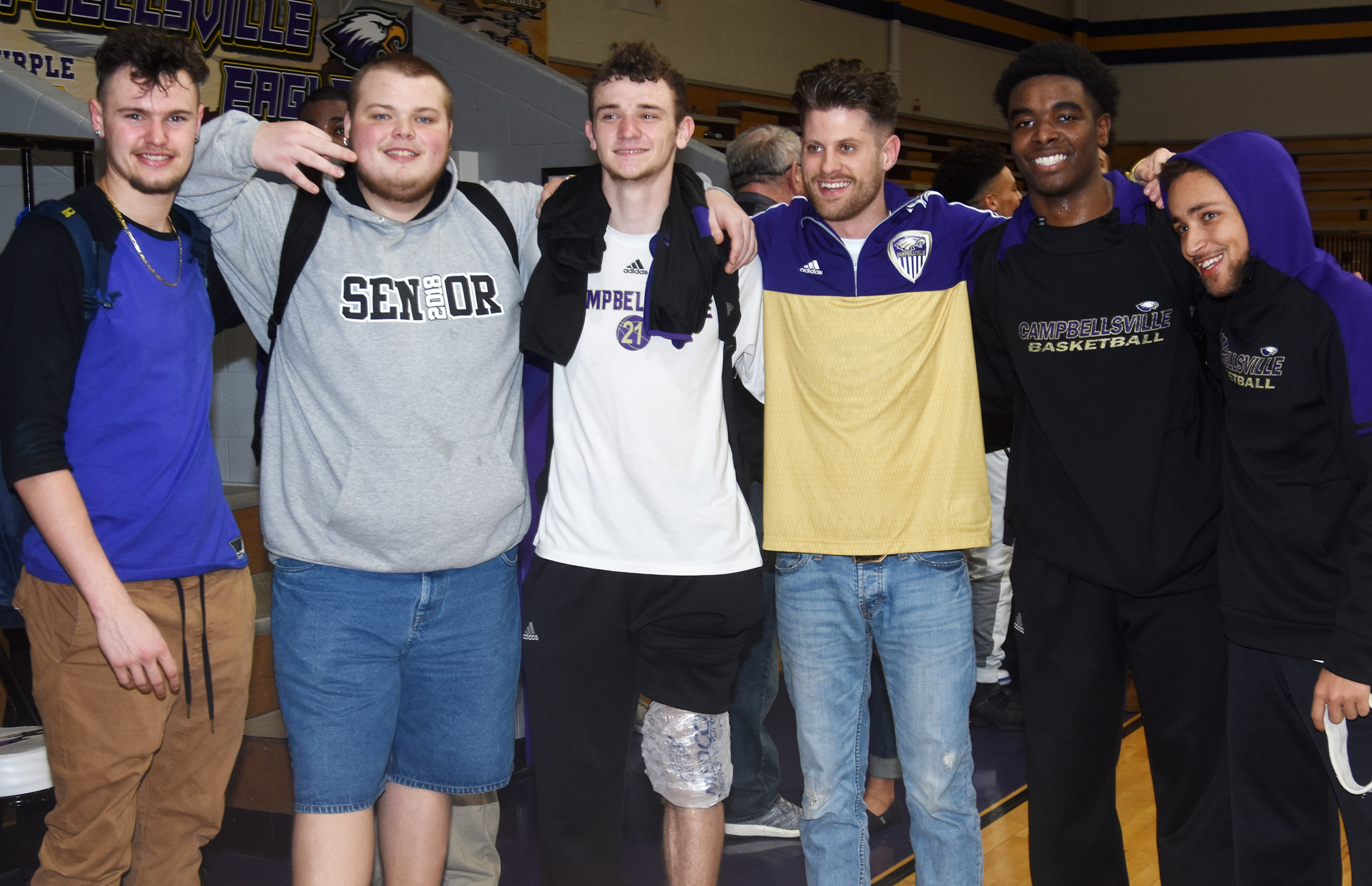 CHS seniors pose for a photo with instructional assistant Matthew Schmuck. From left are Logan Cole, Toyse Cox, Connor Wilson, Schmuck, Chanson Atkinson and Ethan Lay.