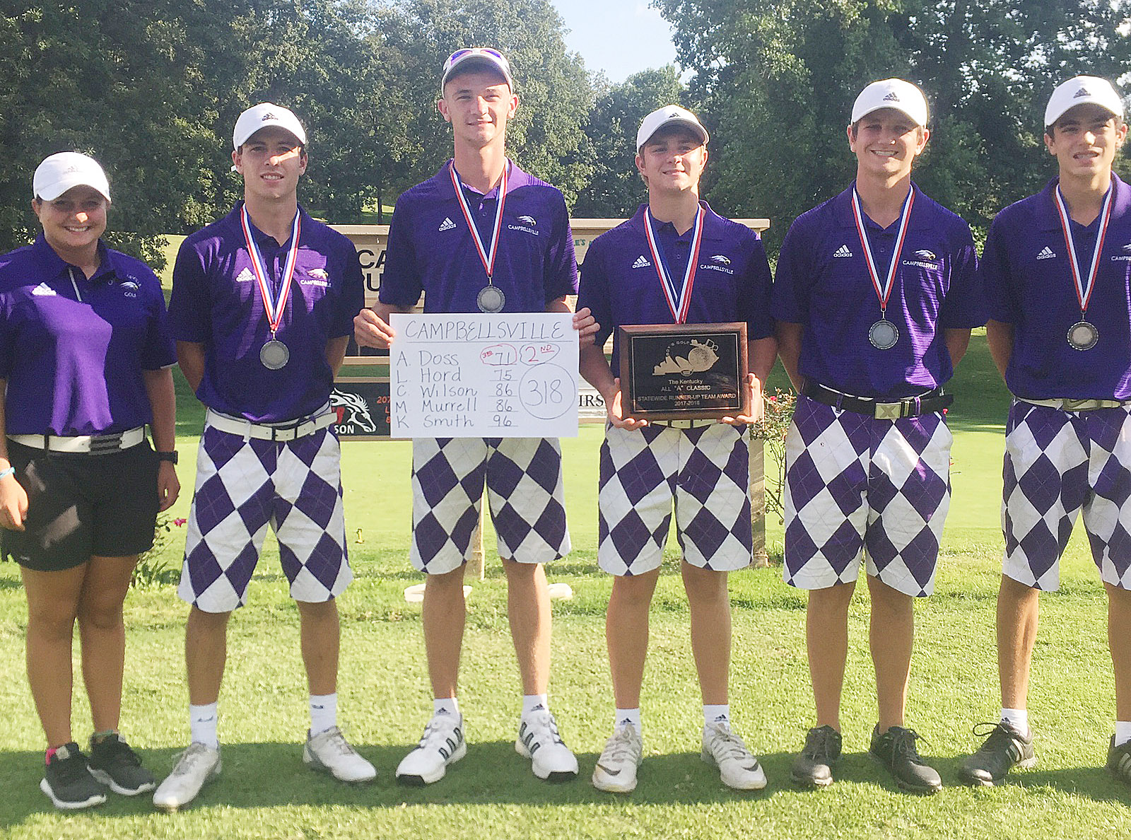 "CHS boys' golf team made school history on Saturday, Sept. 9, by finishing the All ""A"" state golf tournament in second place. From left are coach Cassidy Decker, junior Layton Hord, seniors Connor Wilson and Alex Doss, junior Myles Murrell and freshman Kameron Smith."