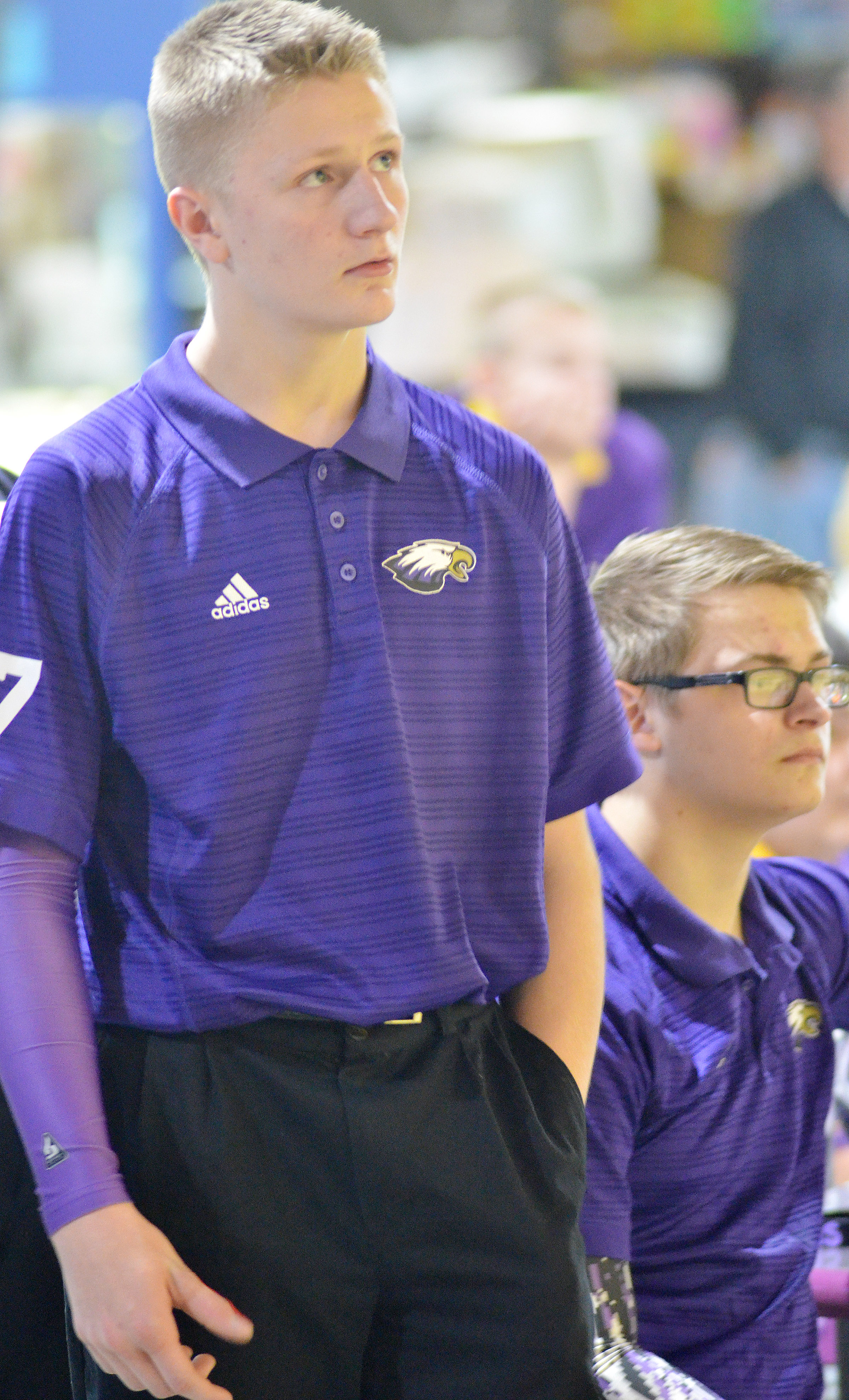 CHS freshman Jake Dicken watches his team's score.