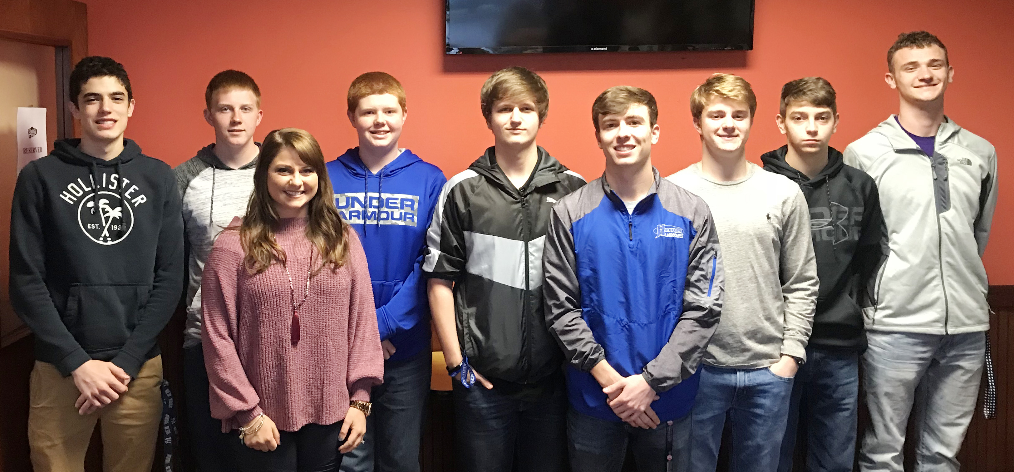 Campbellsville High School boys' golf players were recently honored for their hard work and success this season. From left are freshman Kameron Smith, sophomore Patrick Walker, coach Cassidy Decker, freshman Colin Harris, juniors Myles Murrell and Layton Hord, senior Alex Doss, junior Casey Hardin and senior Connor Wilson.