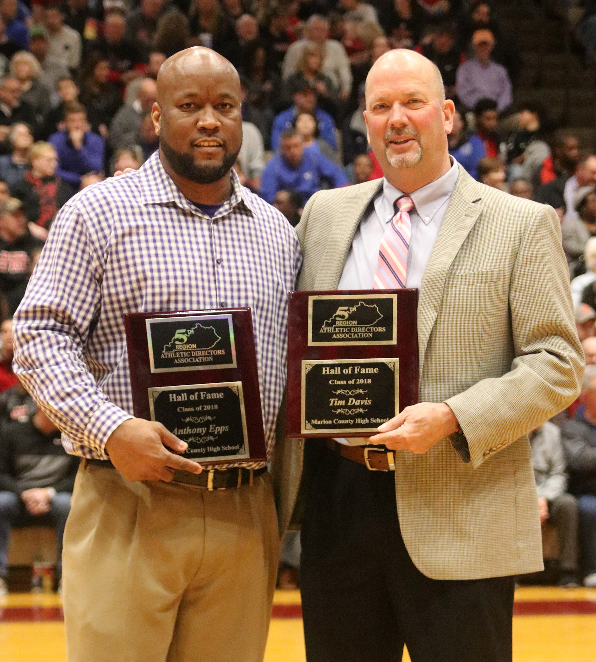 CHS girls' basketball head coach Anthony Epps, at left, and CHS boys' basketball head coach Tim Davis were induced into the 5th Region Athletic Director's Hall of Fame in a special ceremony at Marion County High School on Tuesday, March 6.