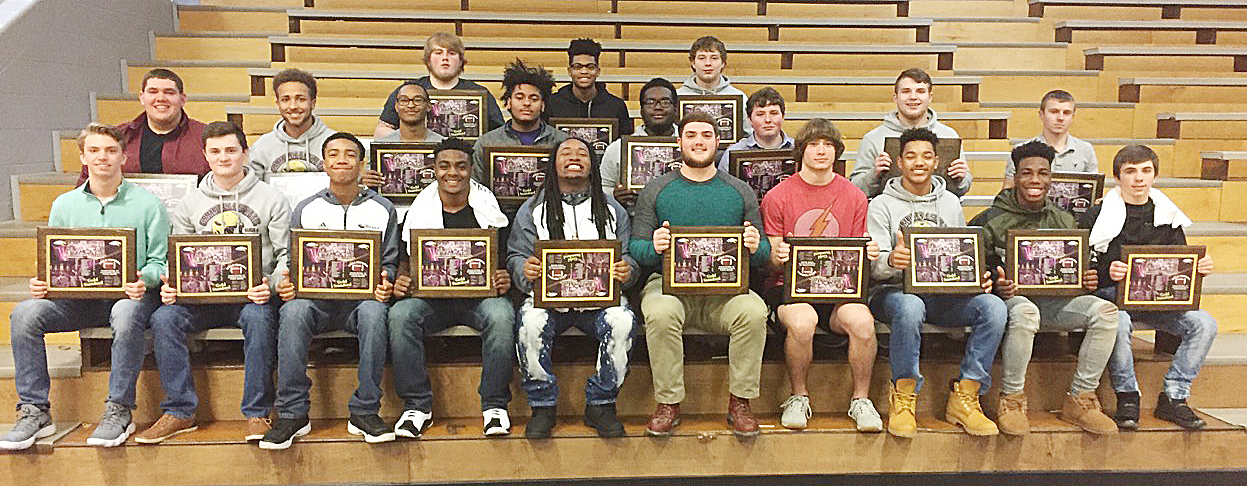 CHS football players were honored at a banquet on Sunday, Jan. 21, for their hard work and success this season. From left, front, are freshman Arren Hash, senior Bryce Richardson, sophomore Lathan Cubit, juniors Charlie Pettigrew, Ceondre Barnett, Lane Bottoms and Tristan Johnson, freshman Reggie Thomas, sophomore Malachi Corley and senior Austin Carter. Second row, seniors Ryan Wiedewitsch and Ethan Lay, junior Daesean Vancleave, sophomores Braden Paige and Taekwon McCoy, freshman Alex Howard, junior Dakota Reardon and sophomore Kelson Griffiths. Back, seniors Ryan Jeffries and Devonte Cubit and sophomore Devon Reardon. Absent from the photo are senior Tyrion Taylor and sophomores Blake Allen, Tyler Gribbins and Cole Kidwell.