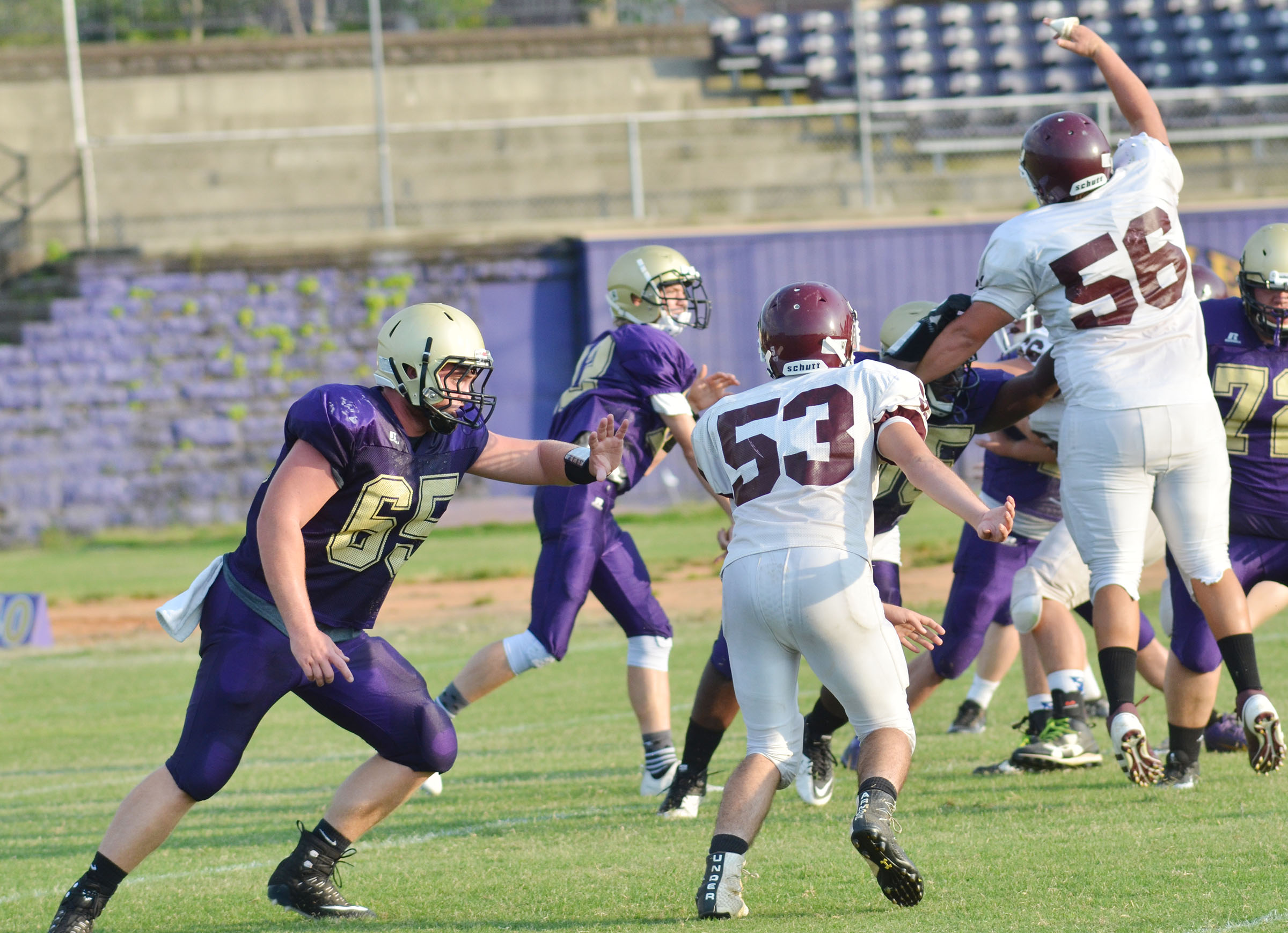 CHS junior Lane Bottoms, at left, blocks for his teammates.