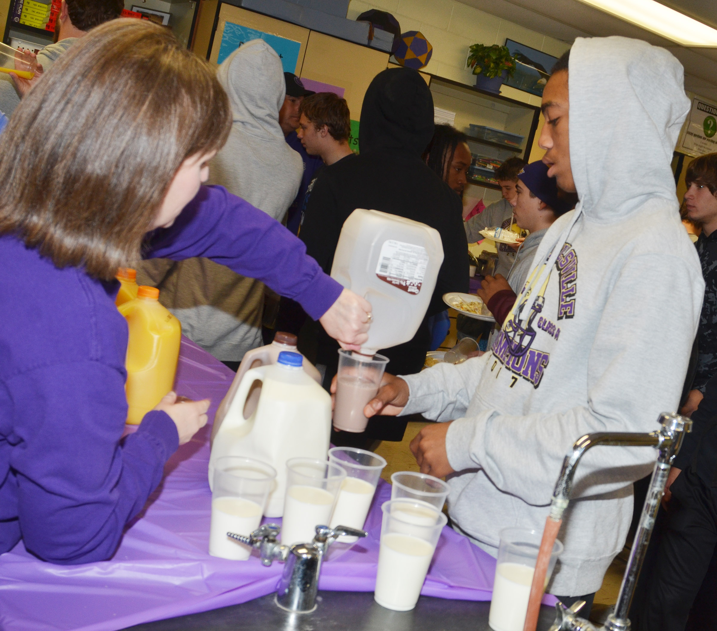 CHS sophomore Lathan Cubit is served milk.