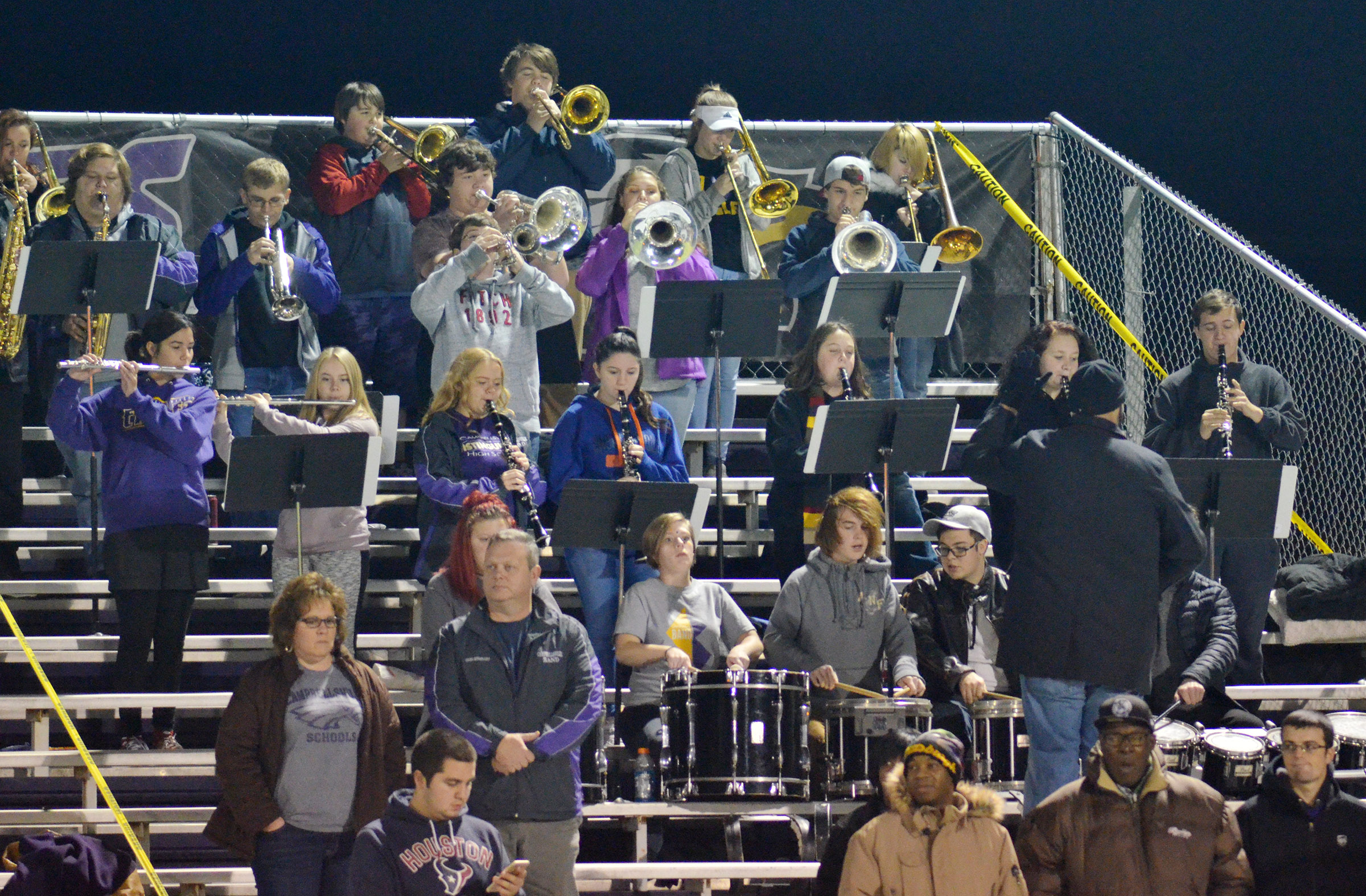 CHS band members play the National Anthem.