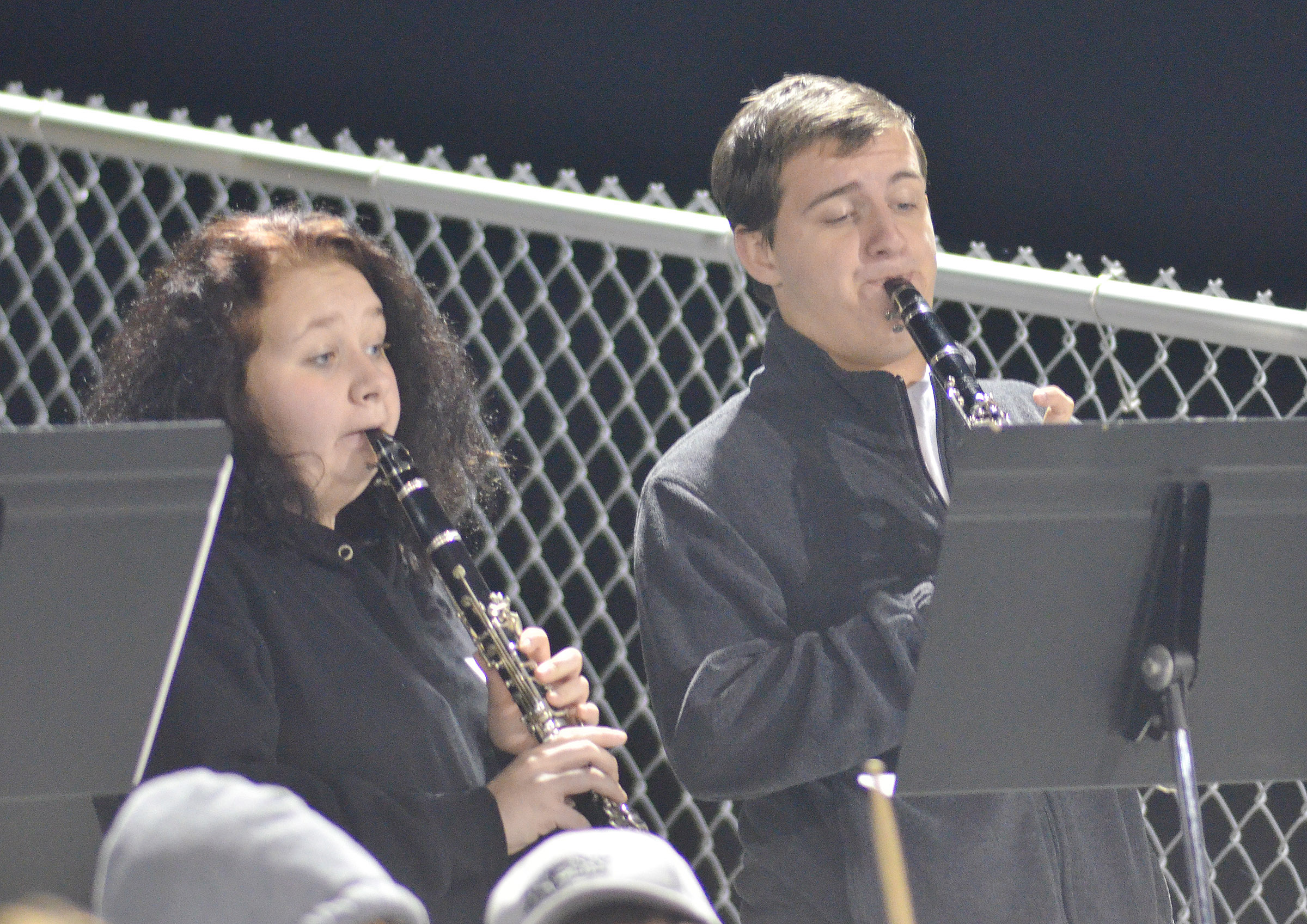 CHS junior Leslie McKenzie, at left, and senior Austin Fitzgerald play in the pep band.