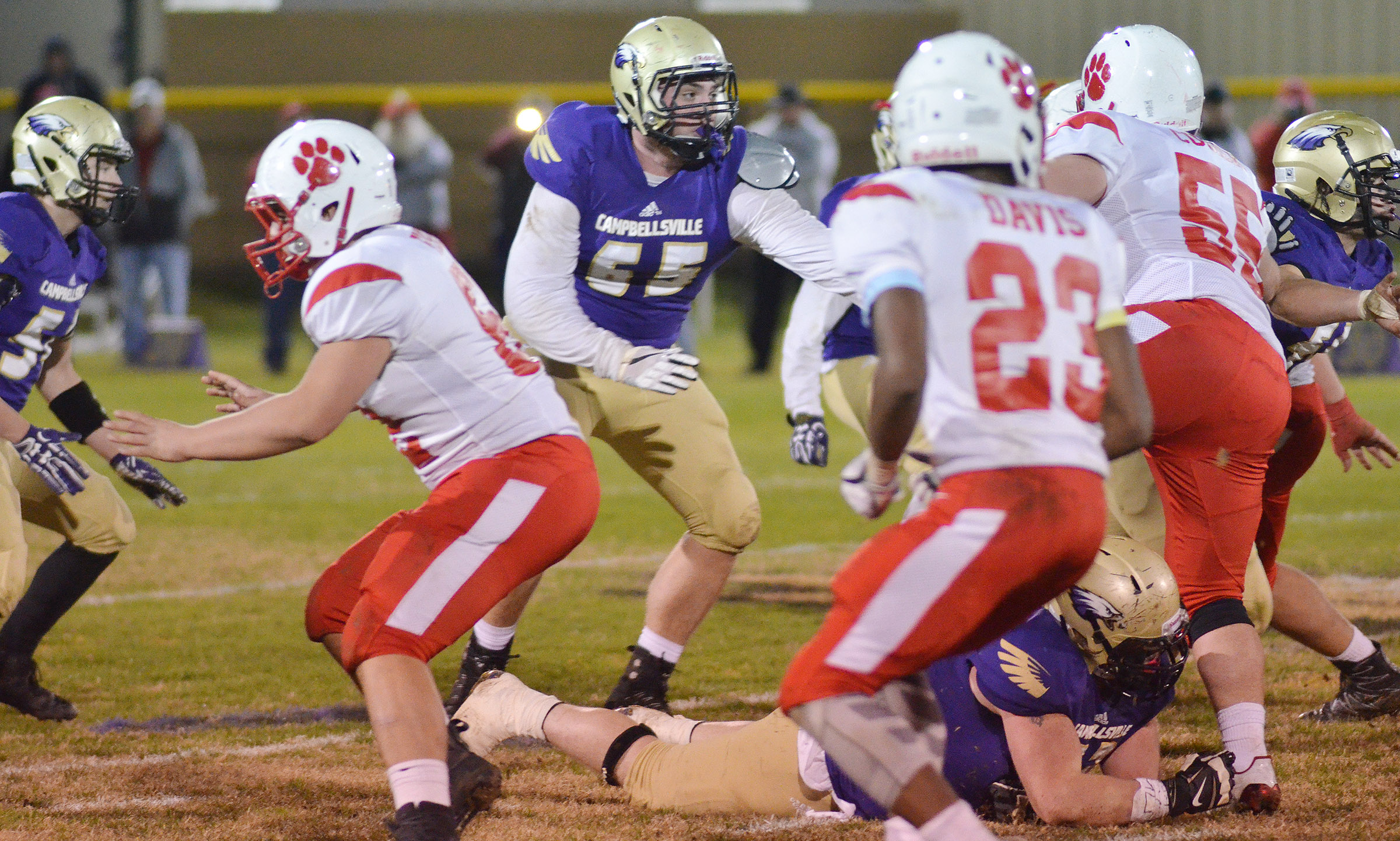 CHS junior Lane Bottoms, center, tackles.