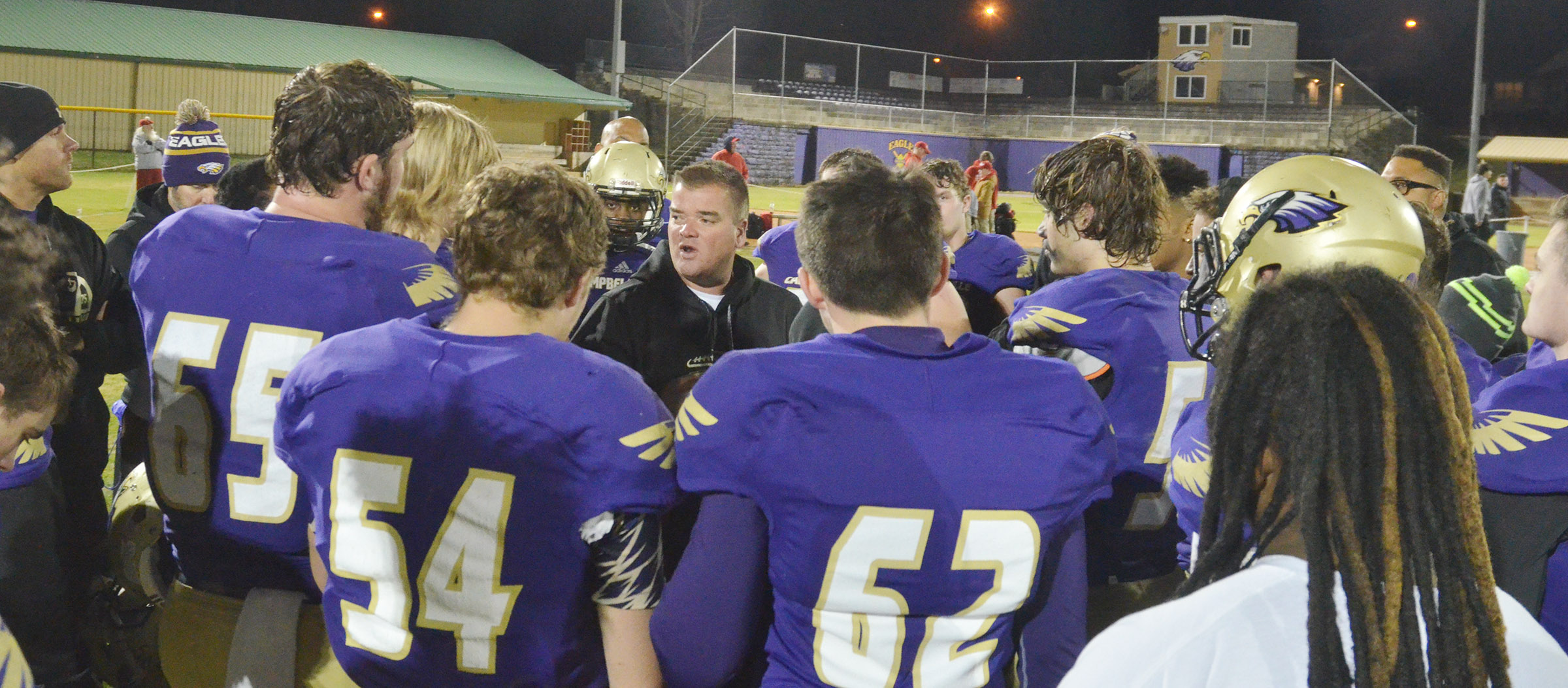 CHS head football coach Dale Estes tells his players he is proud of them.