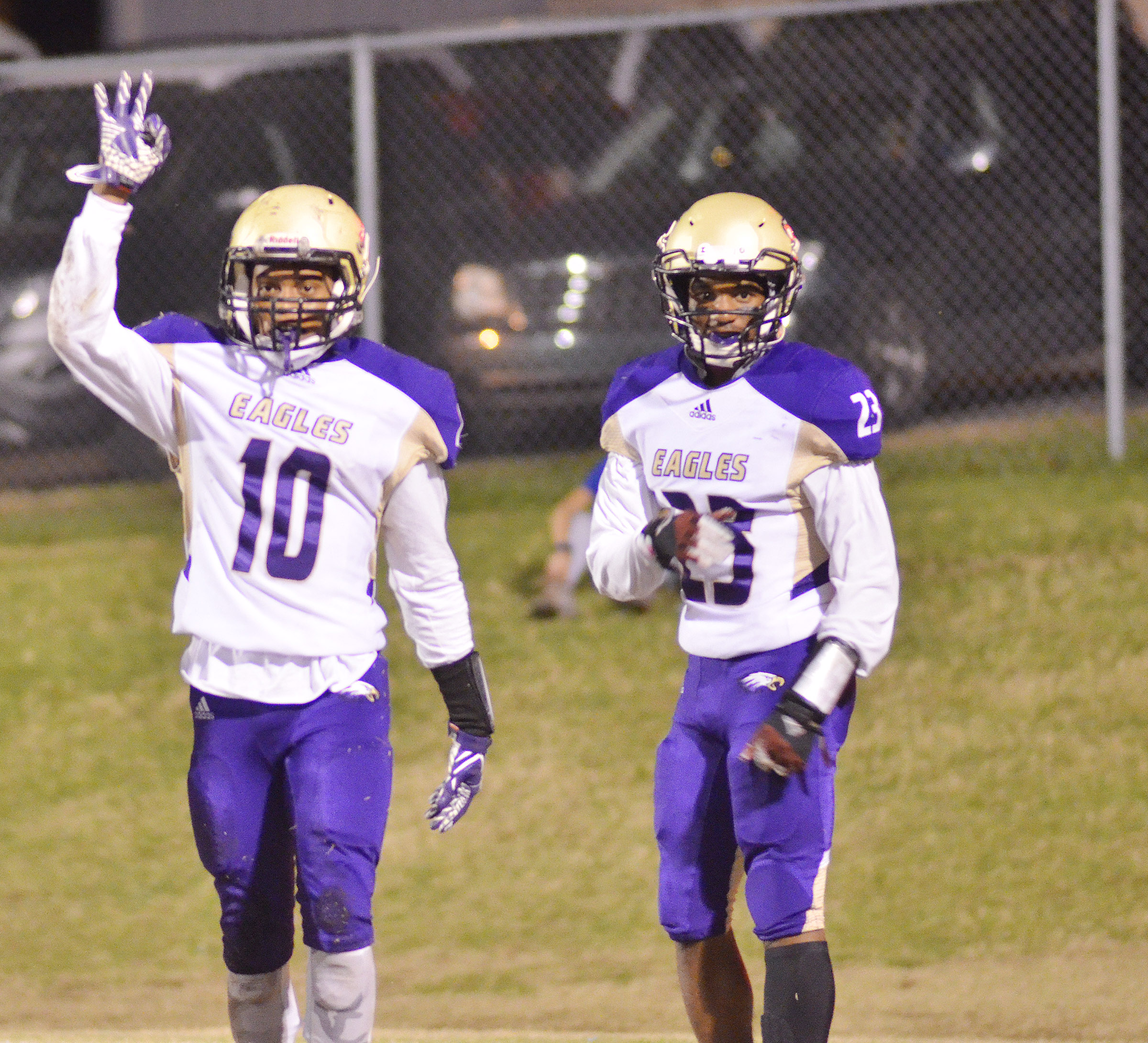 CHS seniors Devonte Cubit, at left, and Tyrion Taylor celebrate Cubit's third touchdown of the night.
