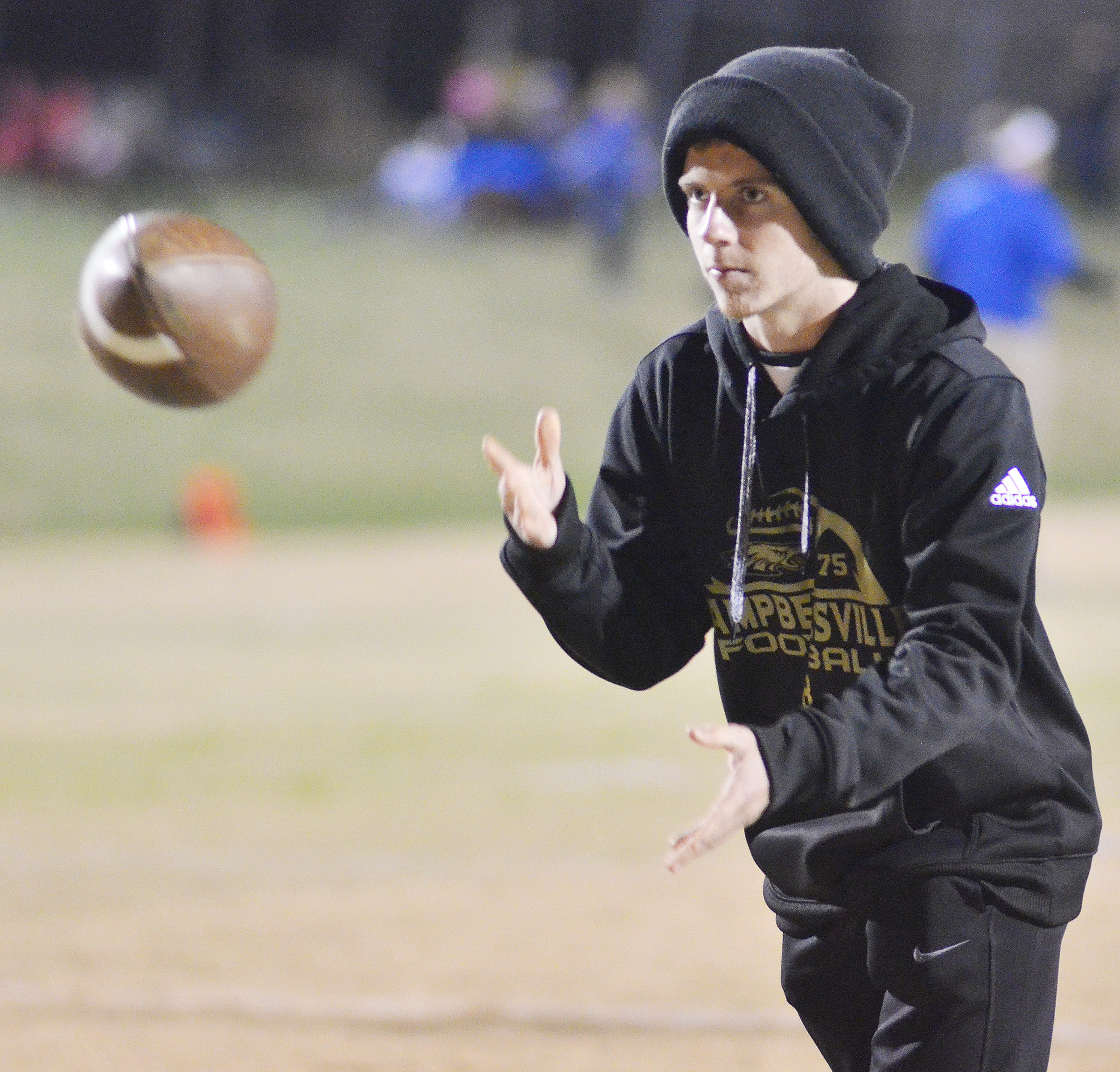 CHS sophomore Kelson Griffiths throws the ball during a warmup drill.